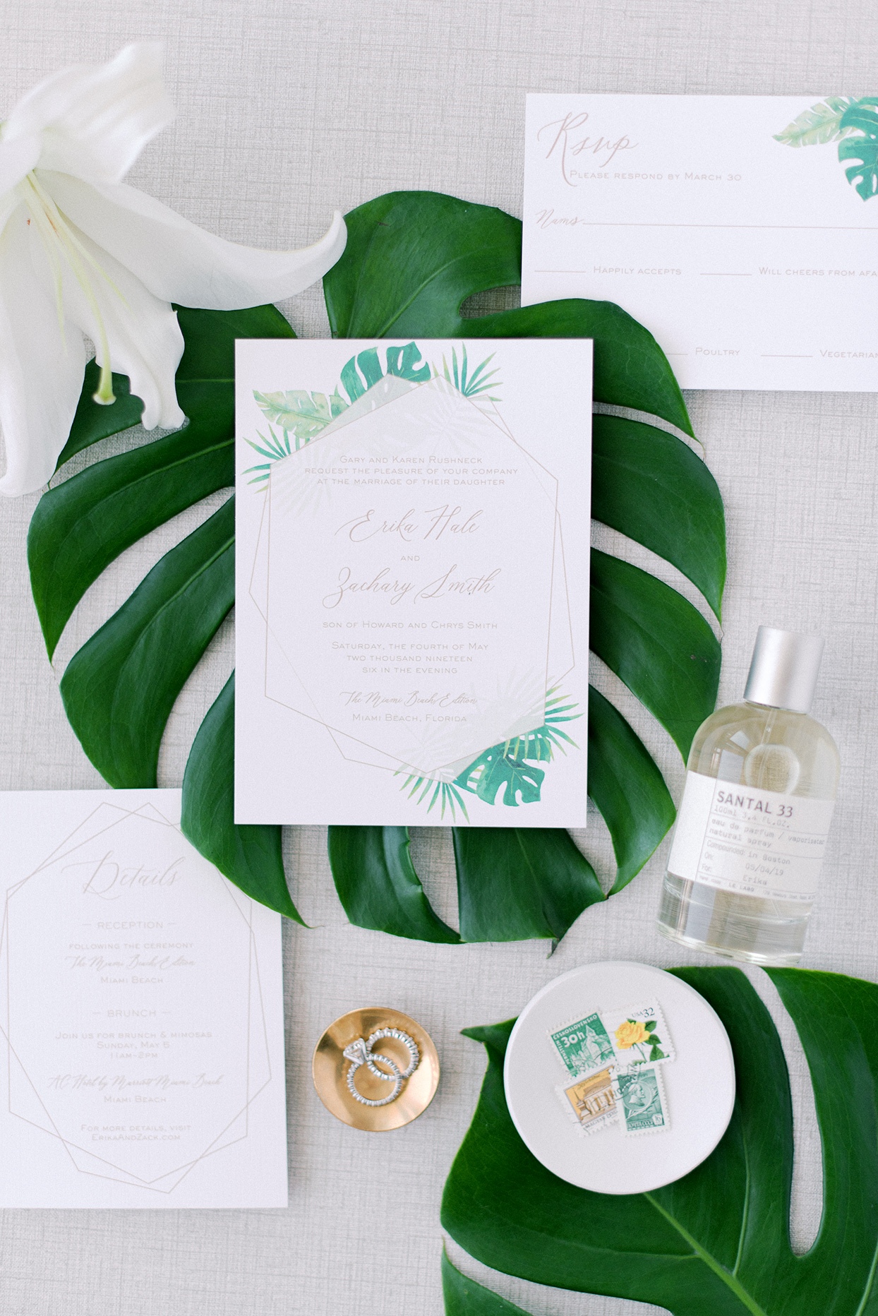 Wedding invitations with bespoke design printed on white linen paper