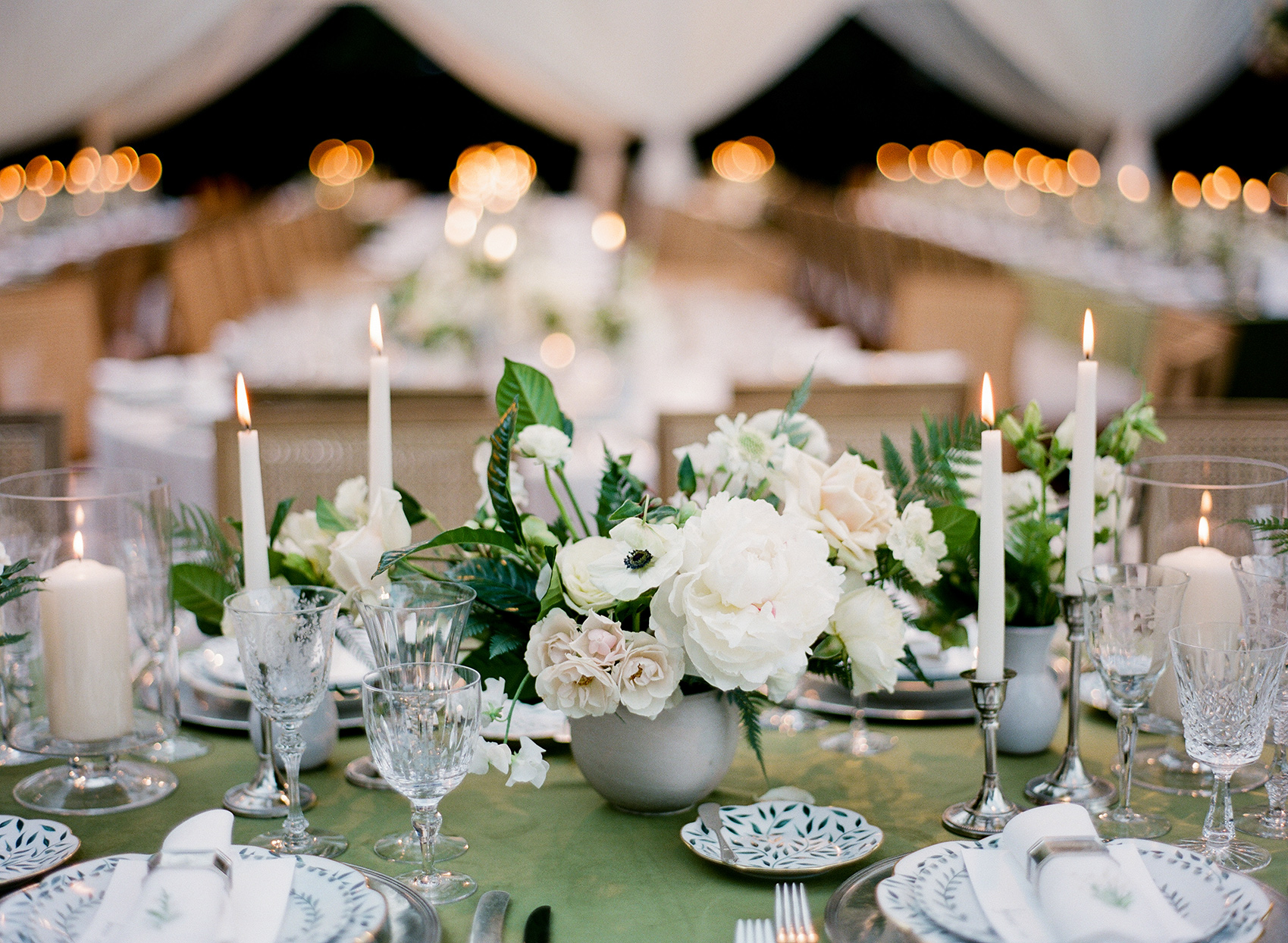 elegant white and green reception table