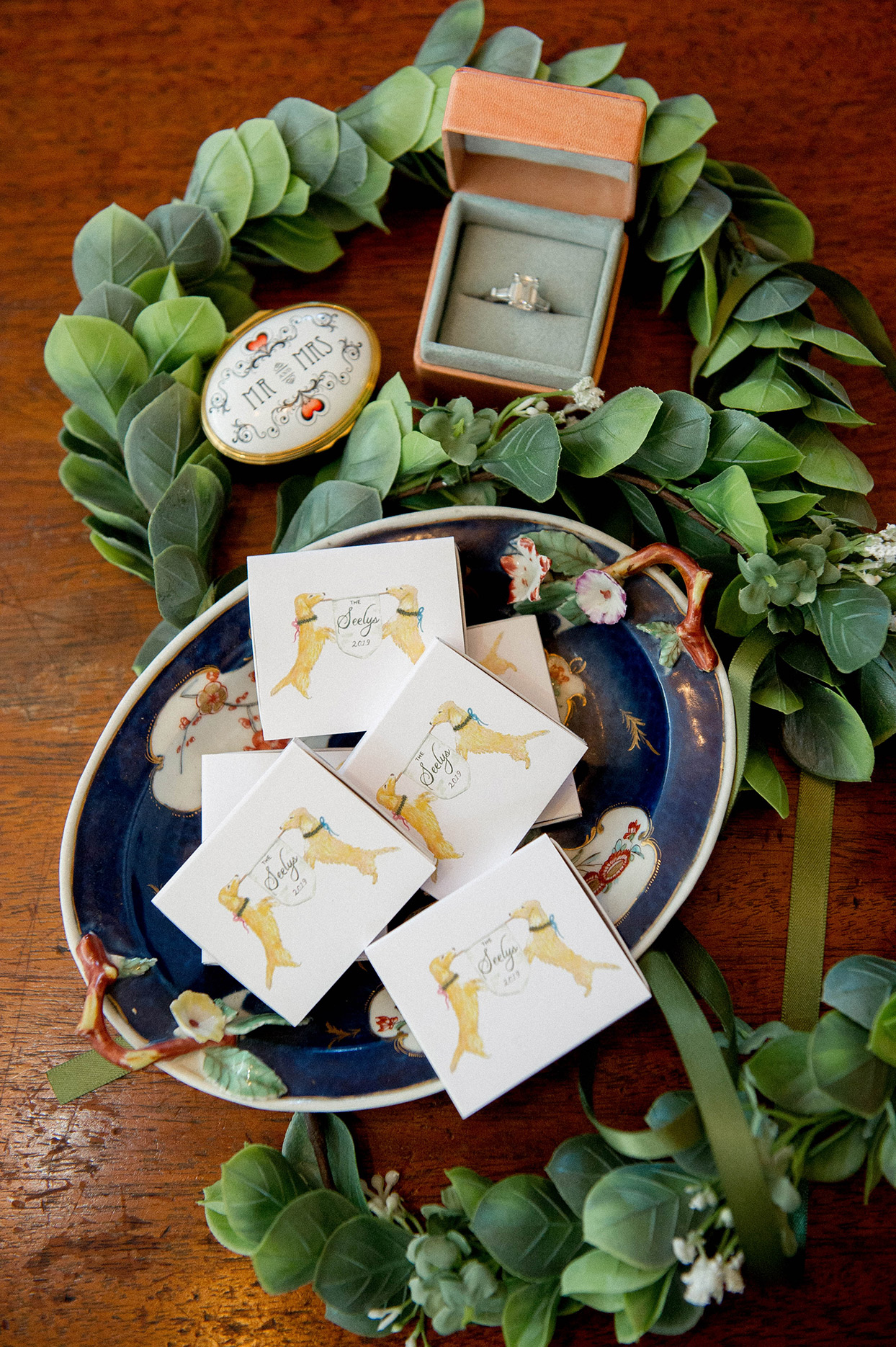 personalized matchbooks in ornate dish for wedding