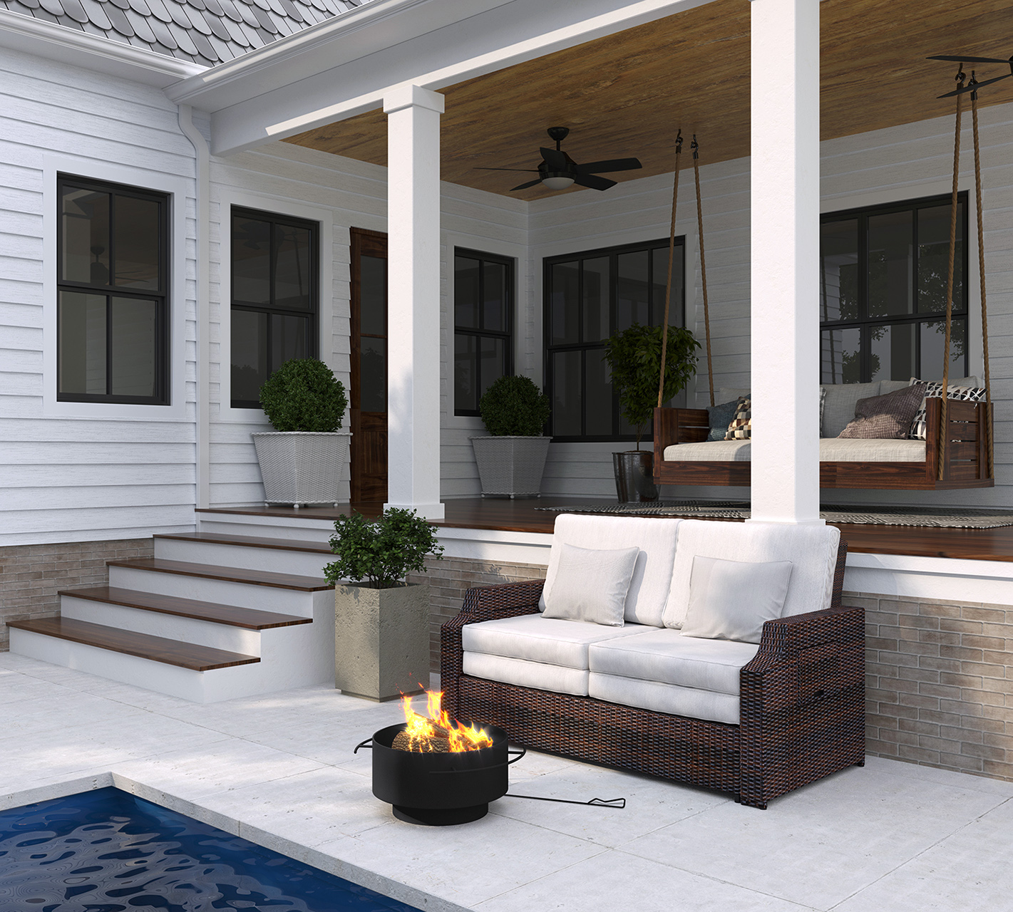 Wood Burning Fire Pit with Outdoor Furniture