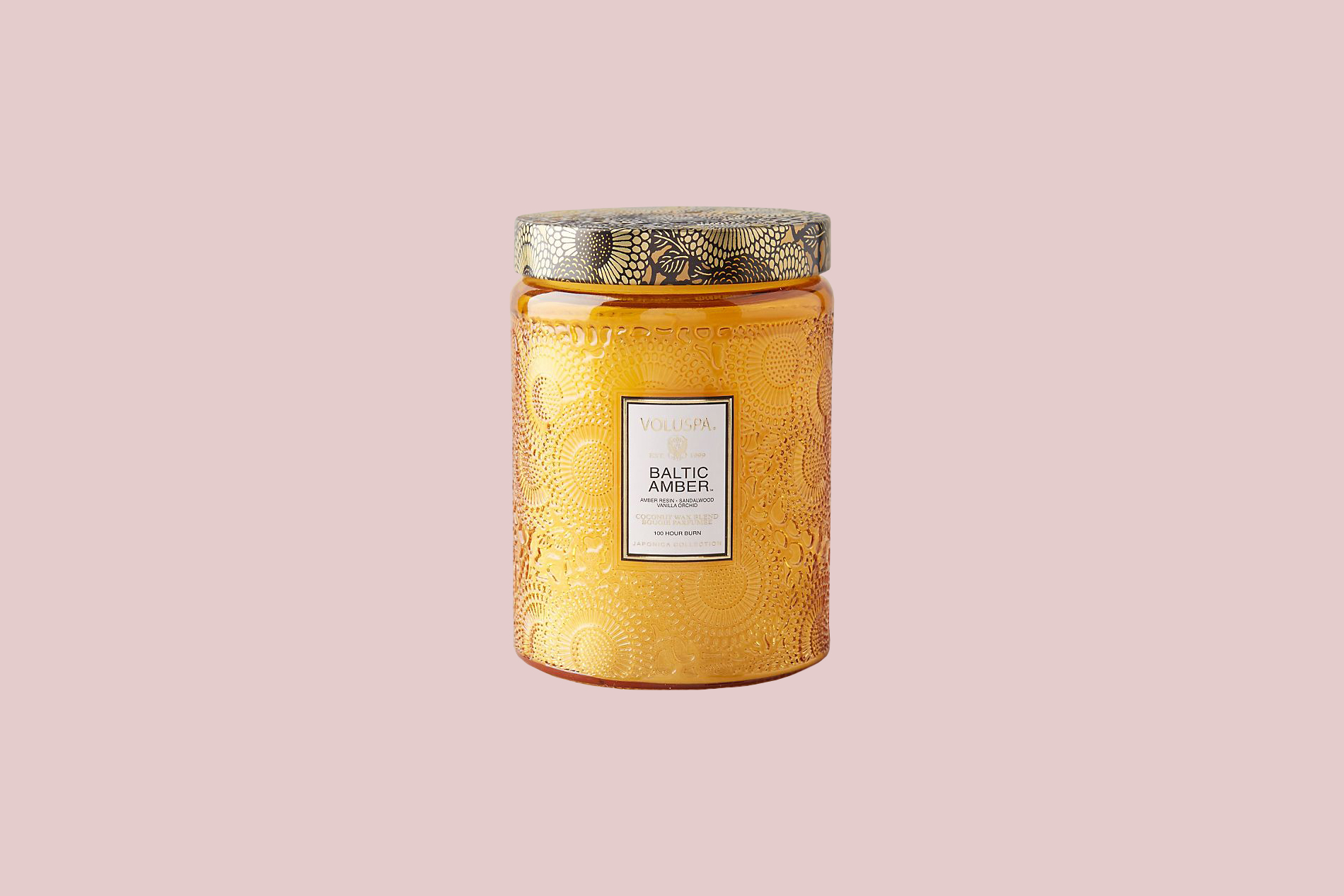 "Voluspa ""Limited-Edition Cut Glass Jar Candle"" in Baltic Amber"