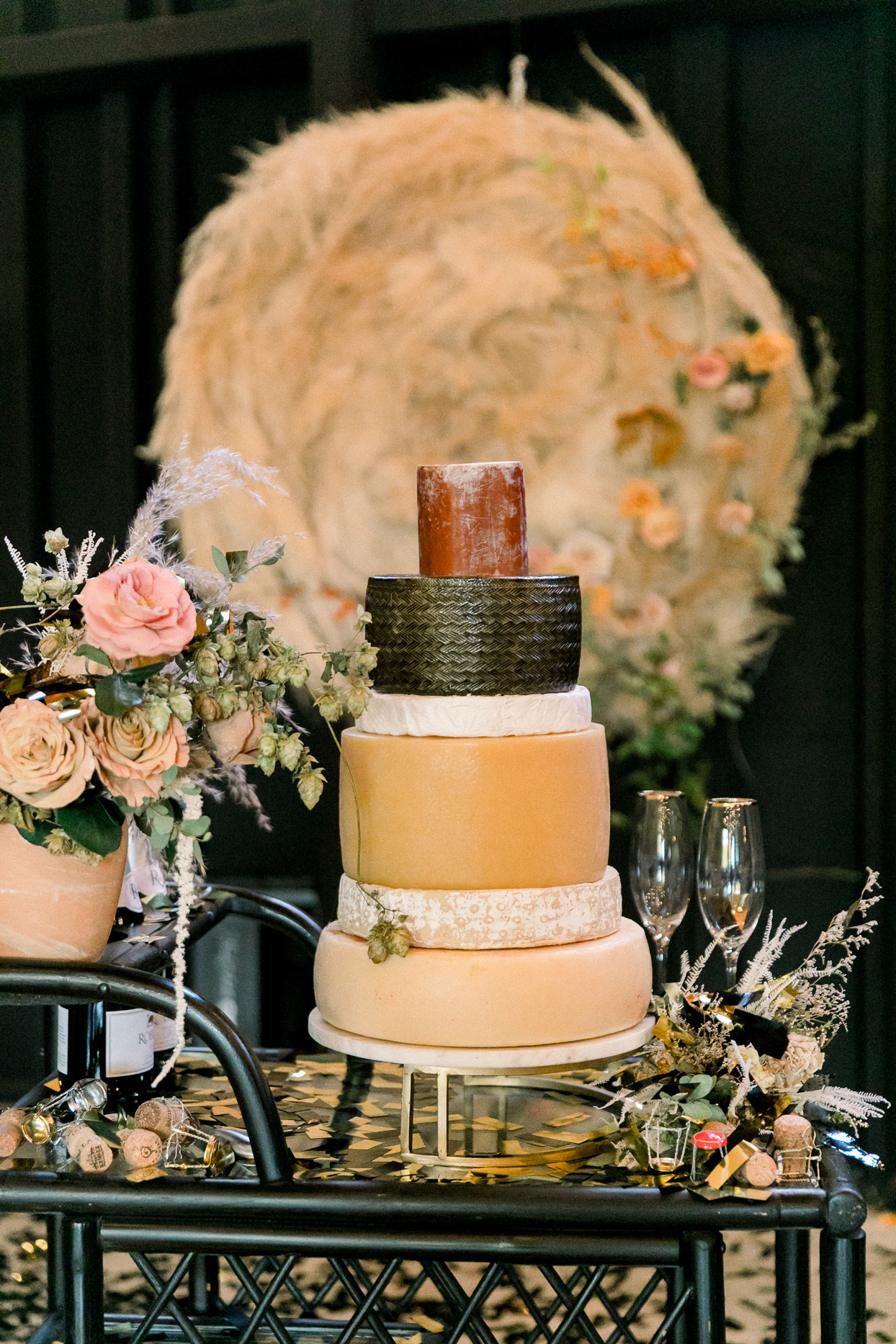 wedding cake of stacked wheels of cheese