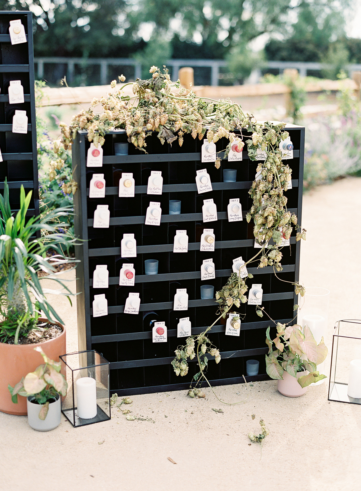 escort cards attached to assorted wine bottles