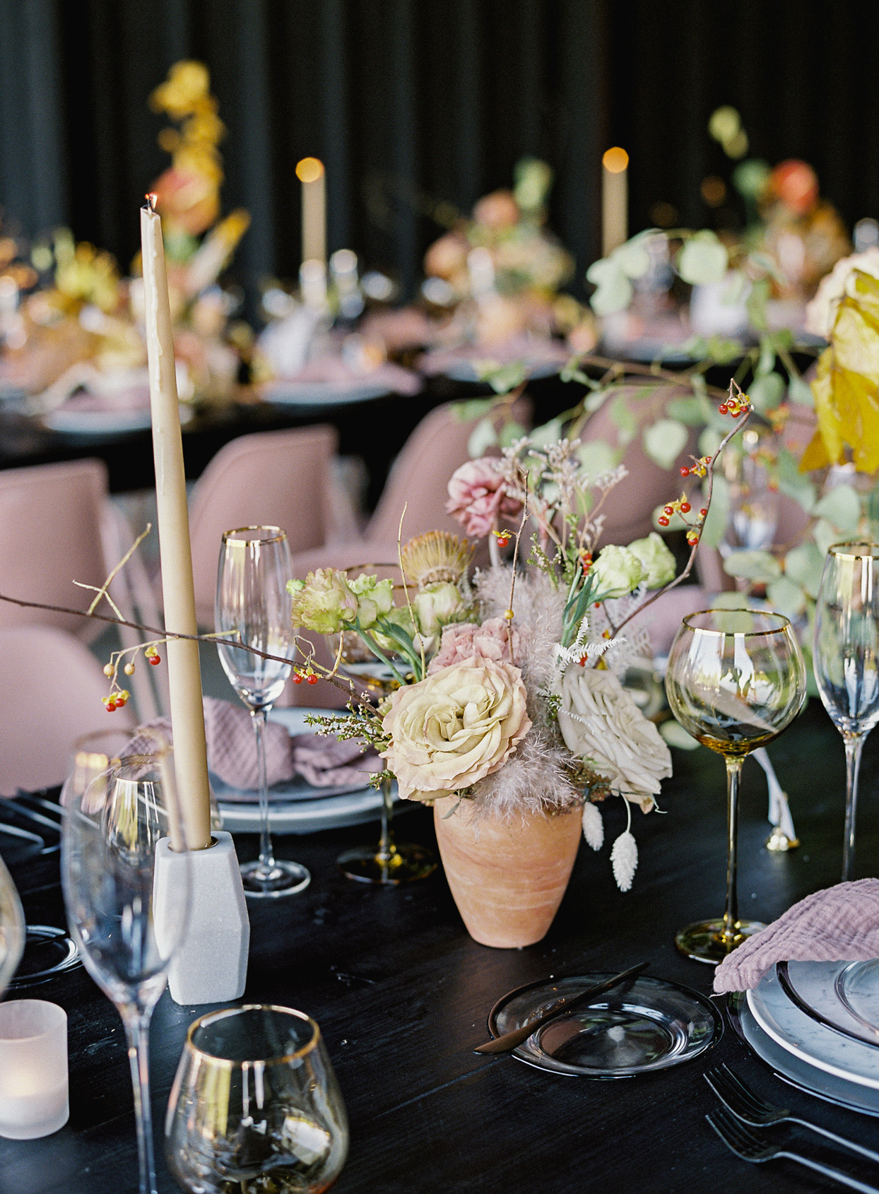 blush and neutral-colored place setting