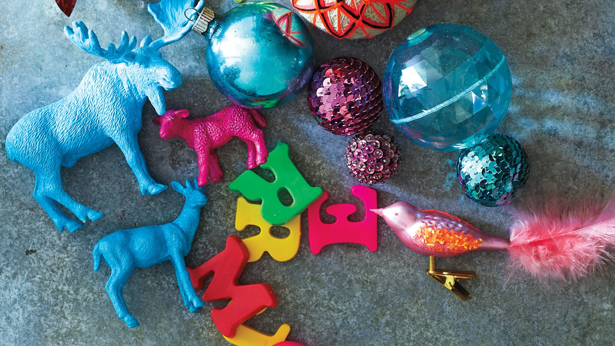 colorful kids toys and ornaments