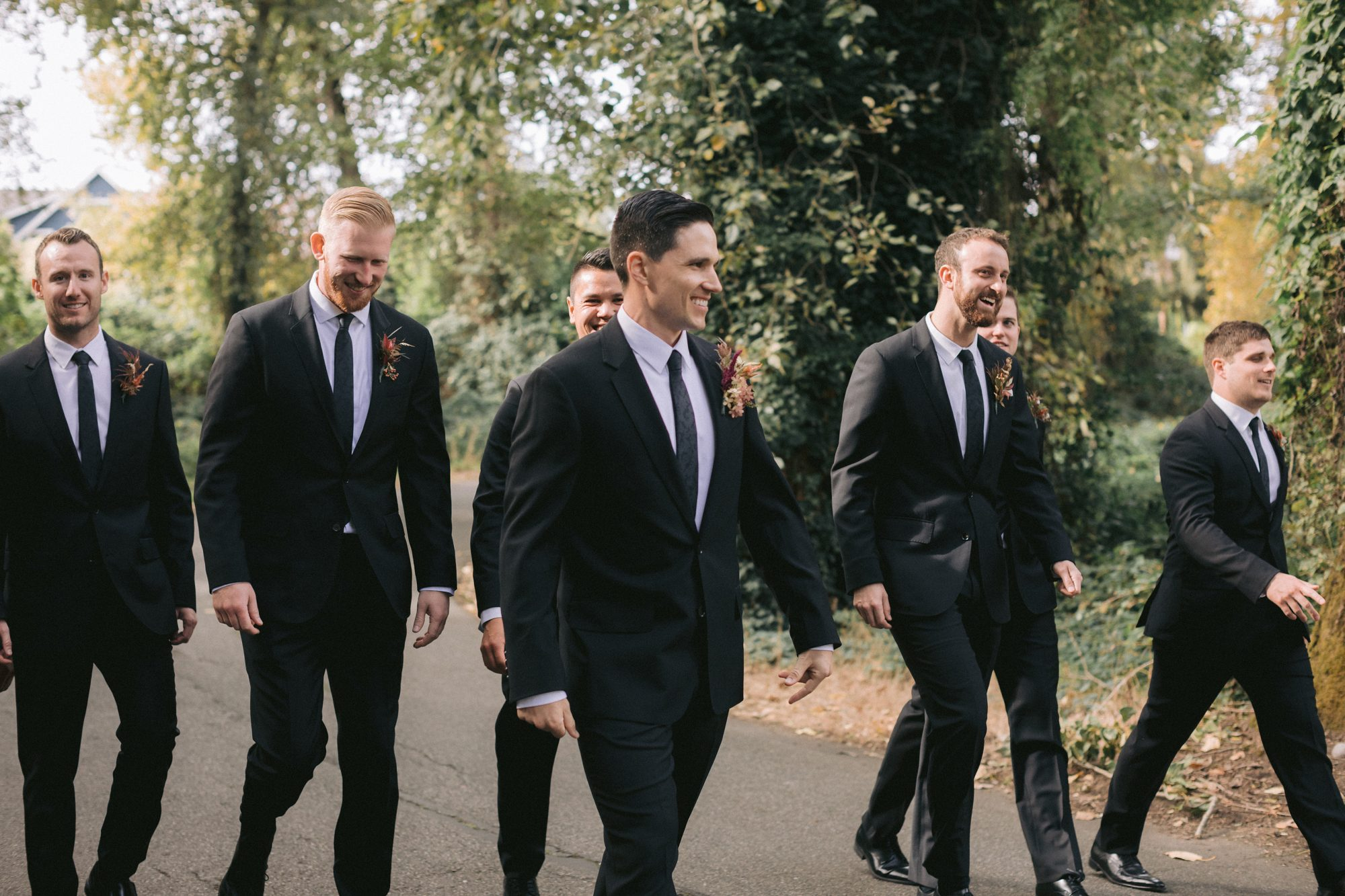 groomsmen walking together