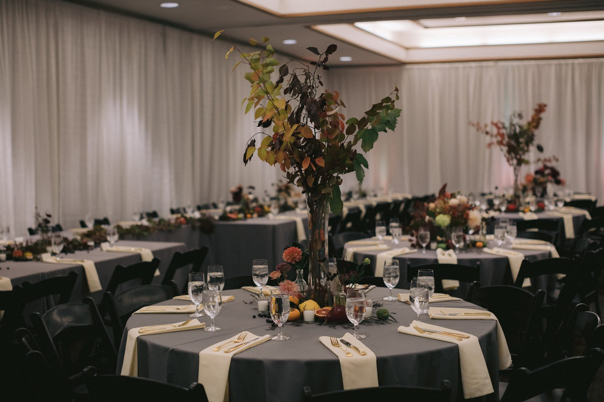 fall inspired indoor reception space
