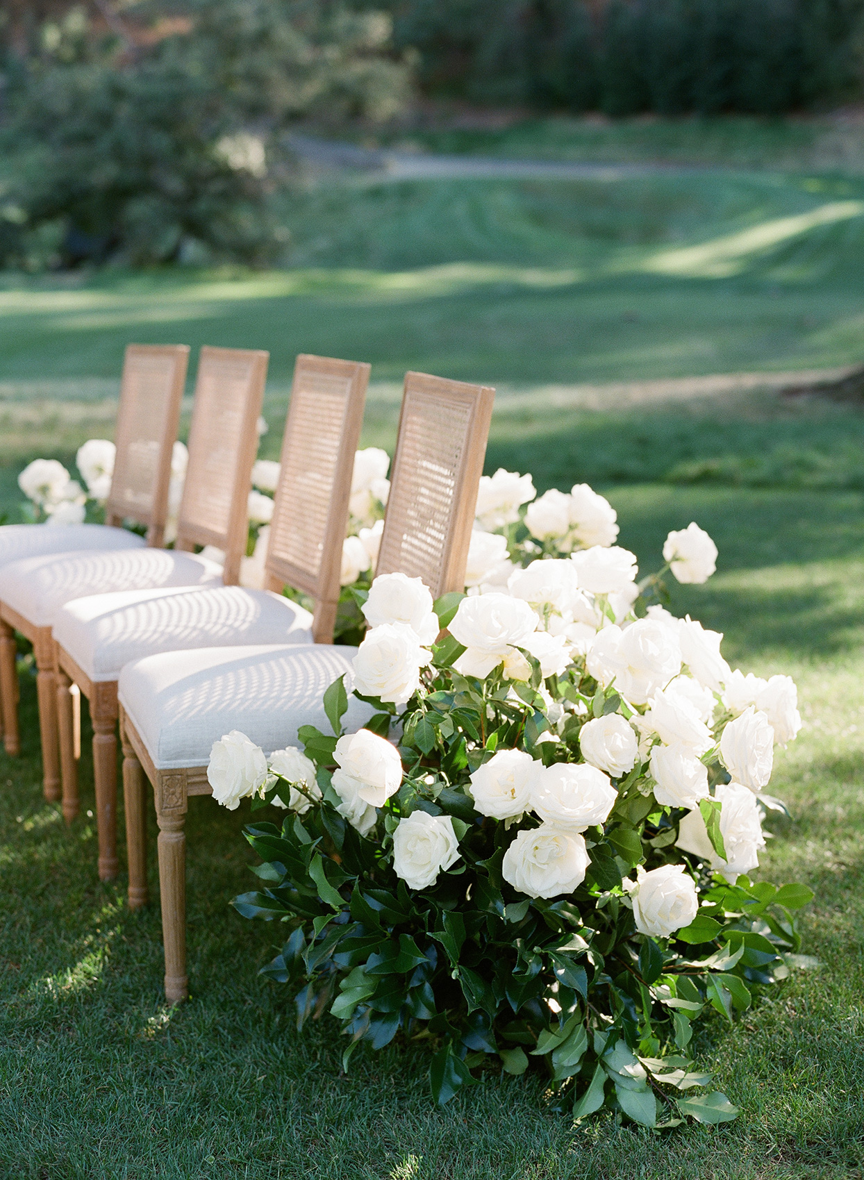 Wedding ceremony with cushioned french cane chairs
