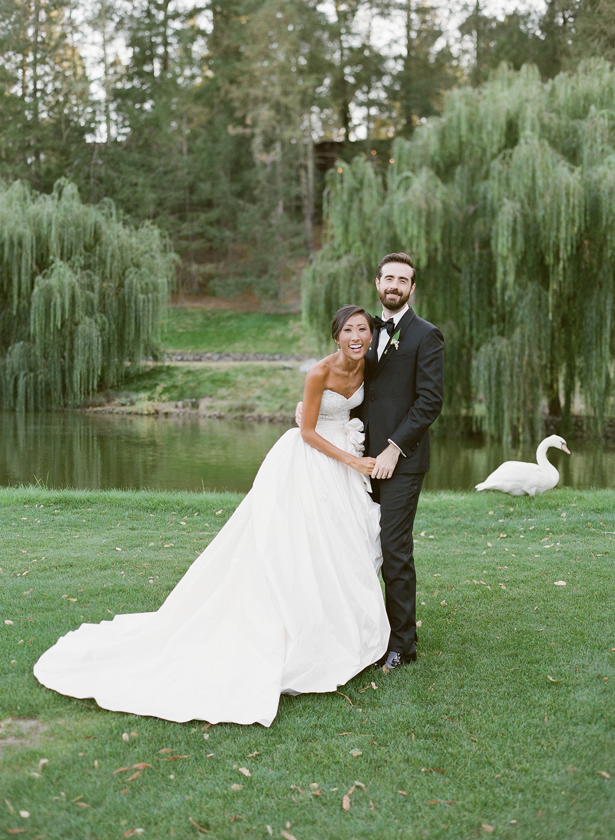 Bride and groom laughing together near a swan