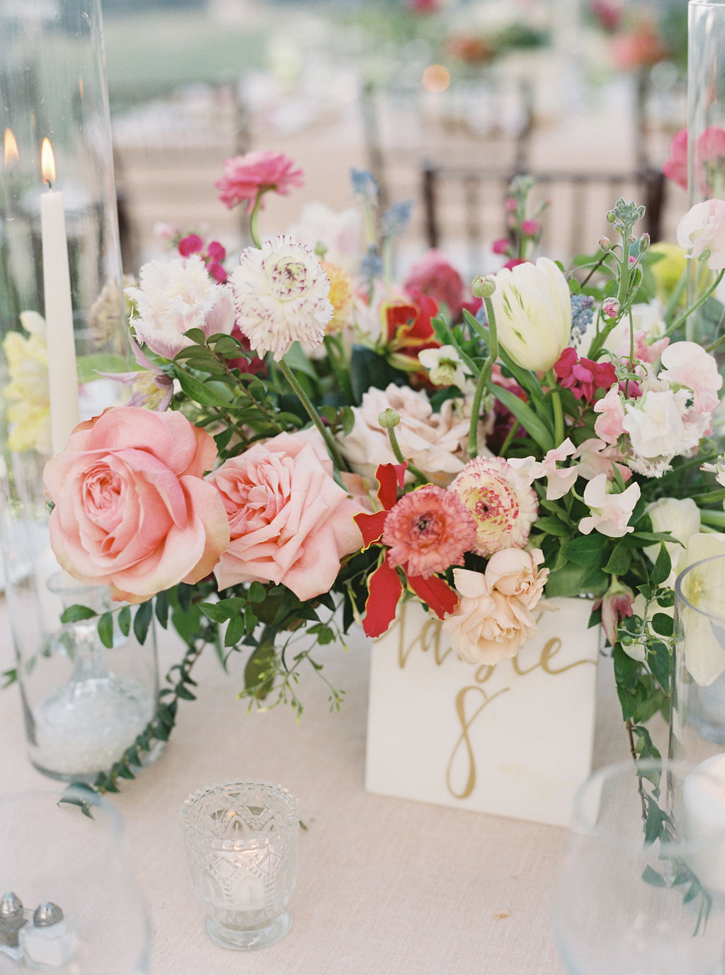 colorful floral wedding reception centerpiece