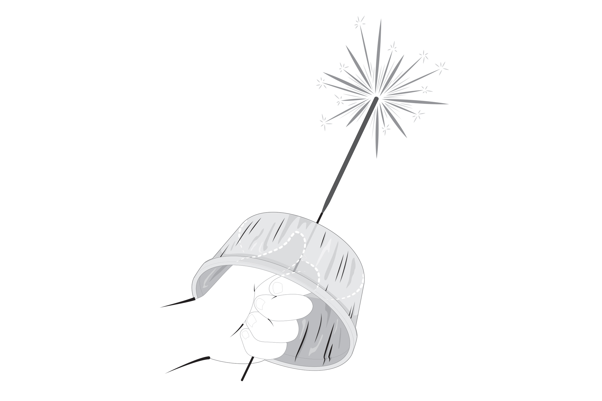illustration of hand holding sparkler with tin guard