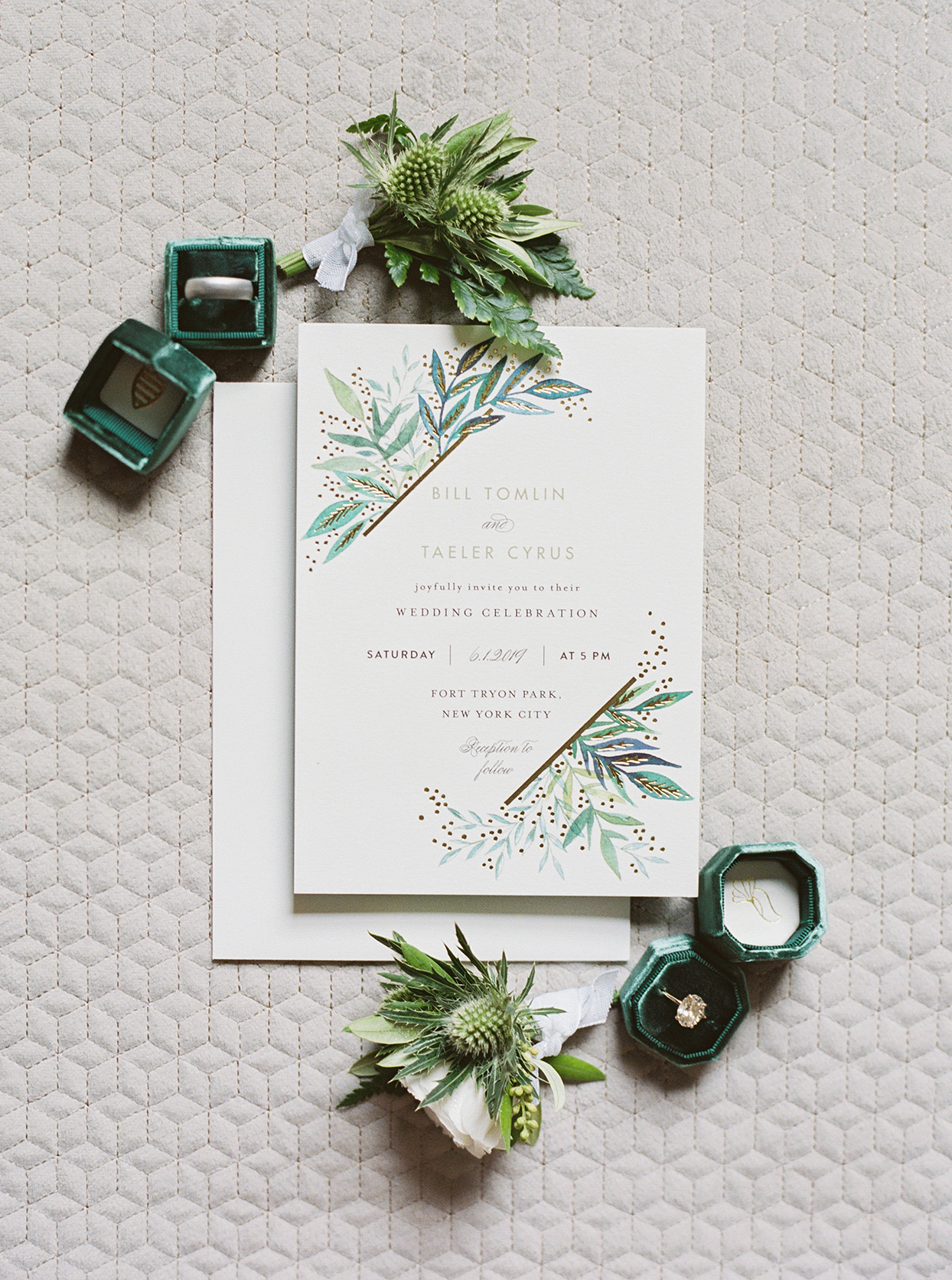 simple white wedding invitations with green and blue greenery designs