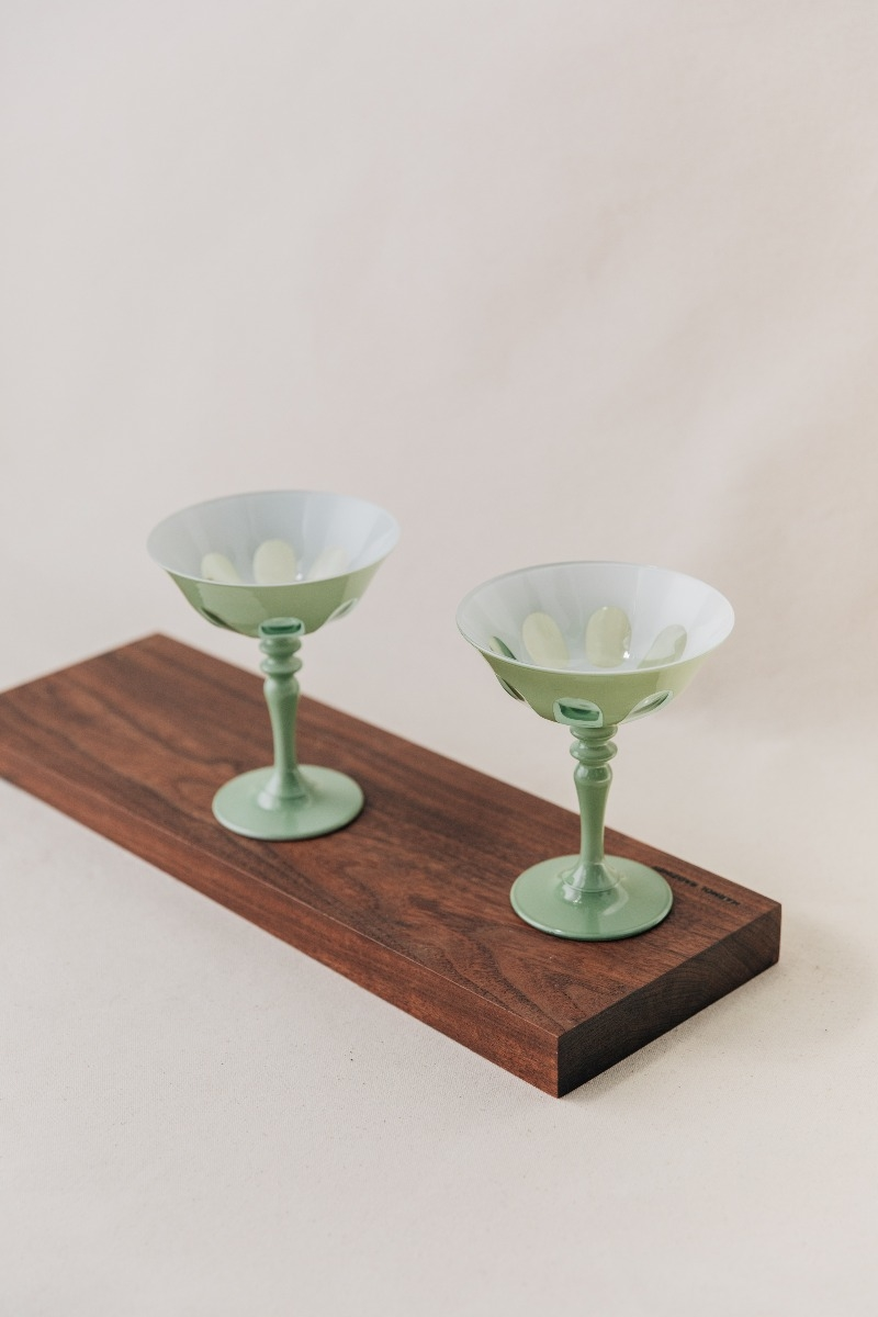 Rialto Coupe Glass Set in Sage