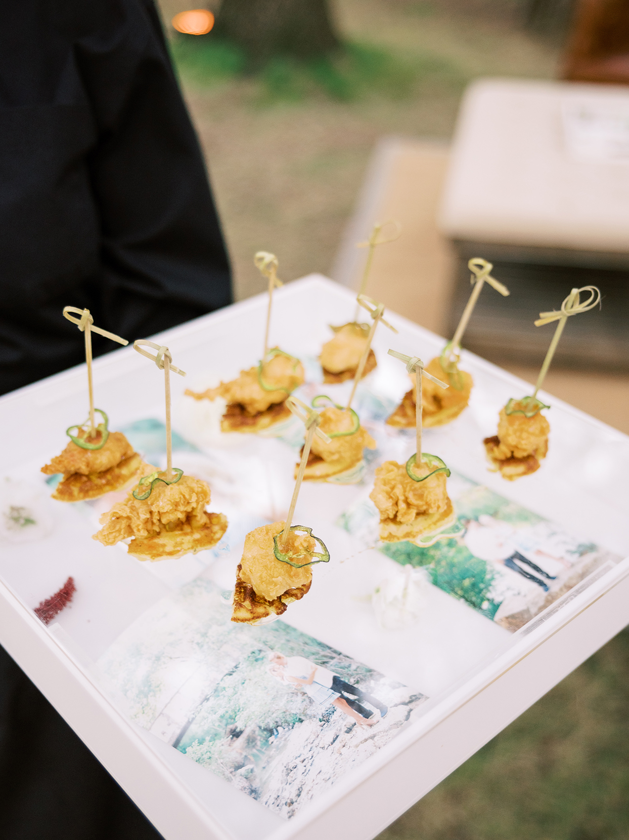 white cocktail tray with wedding appetizers