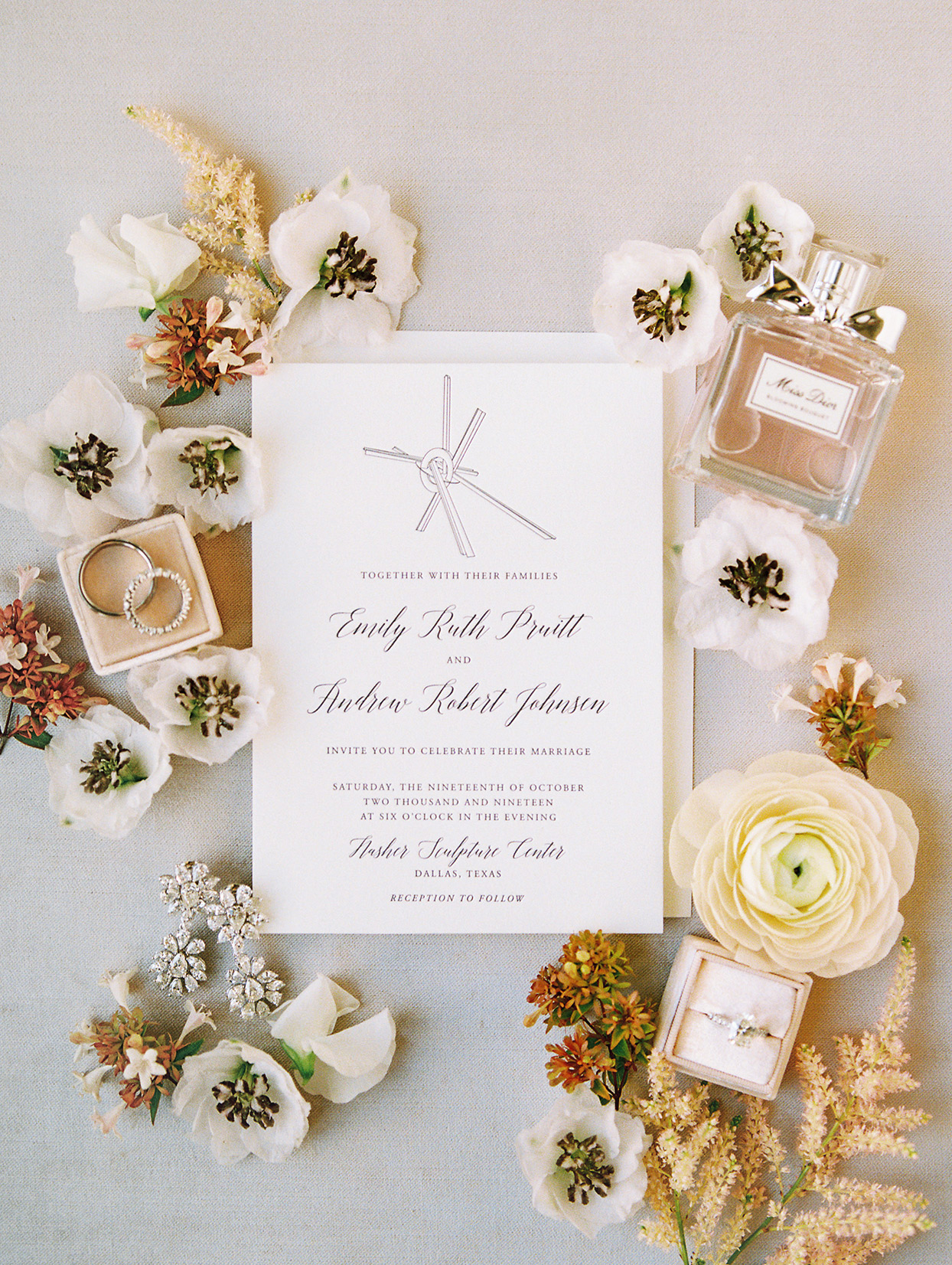simple wedding invitations with orange and white flowers
