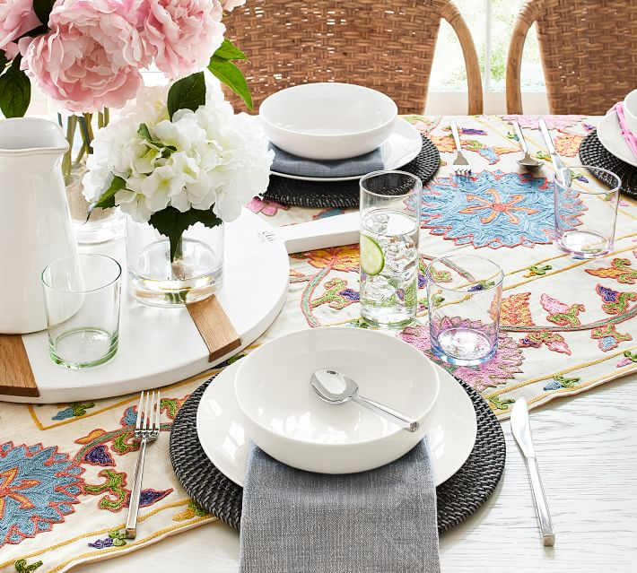 Pottery Barn Willow Embroidered Floral Table Throw