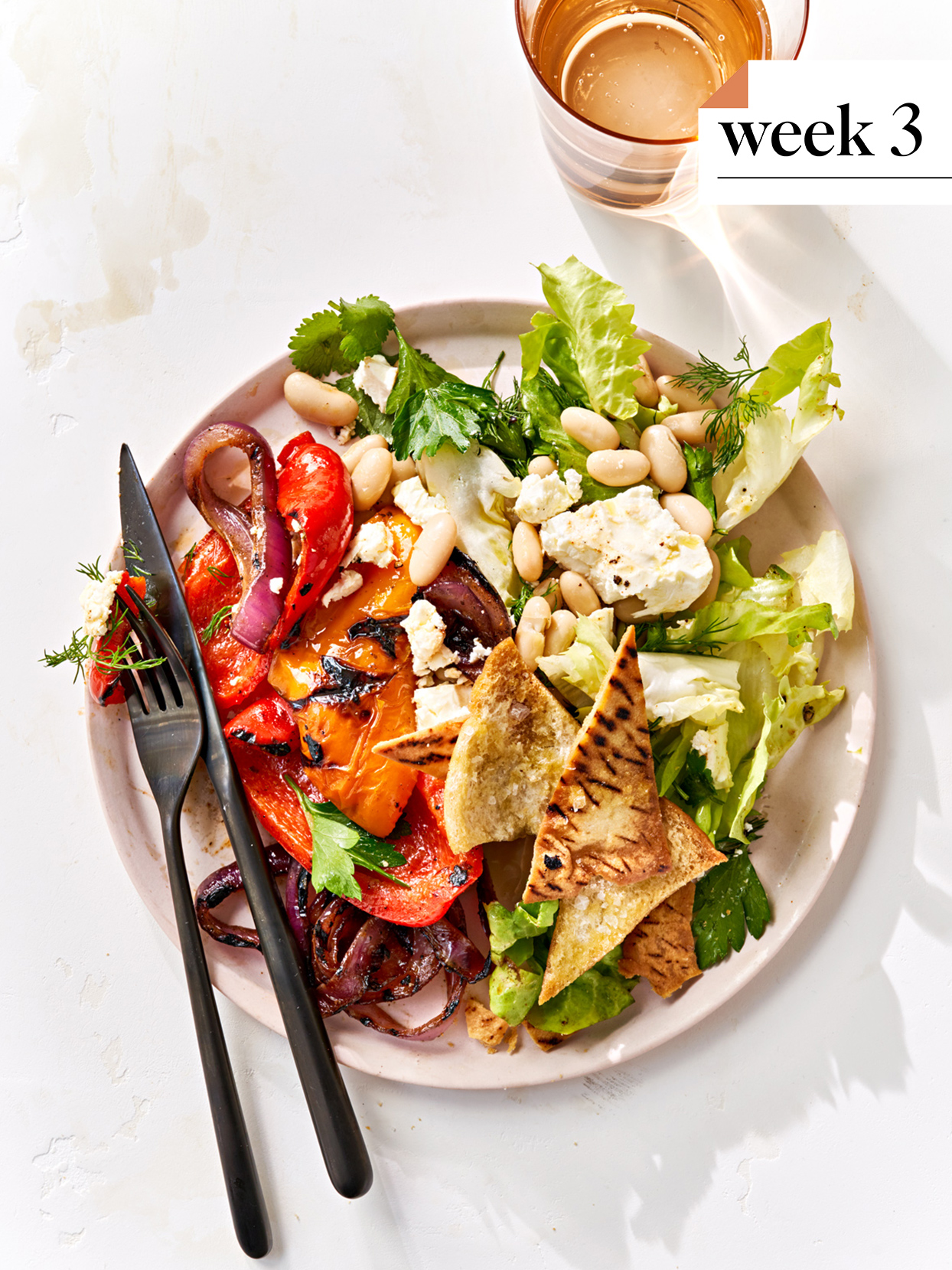 grilled vegetables and white bean fattoush