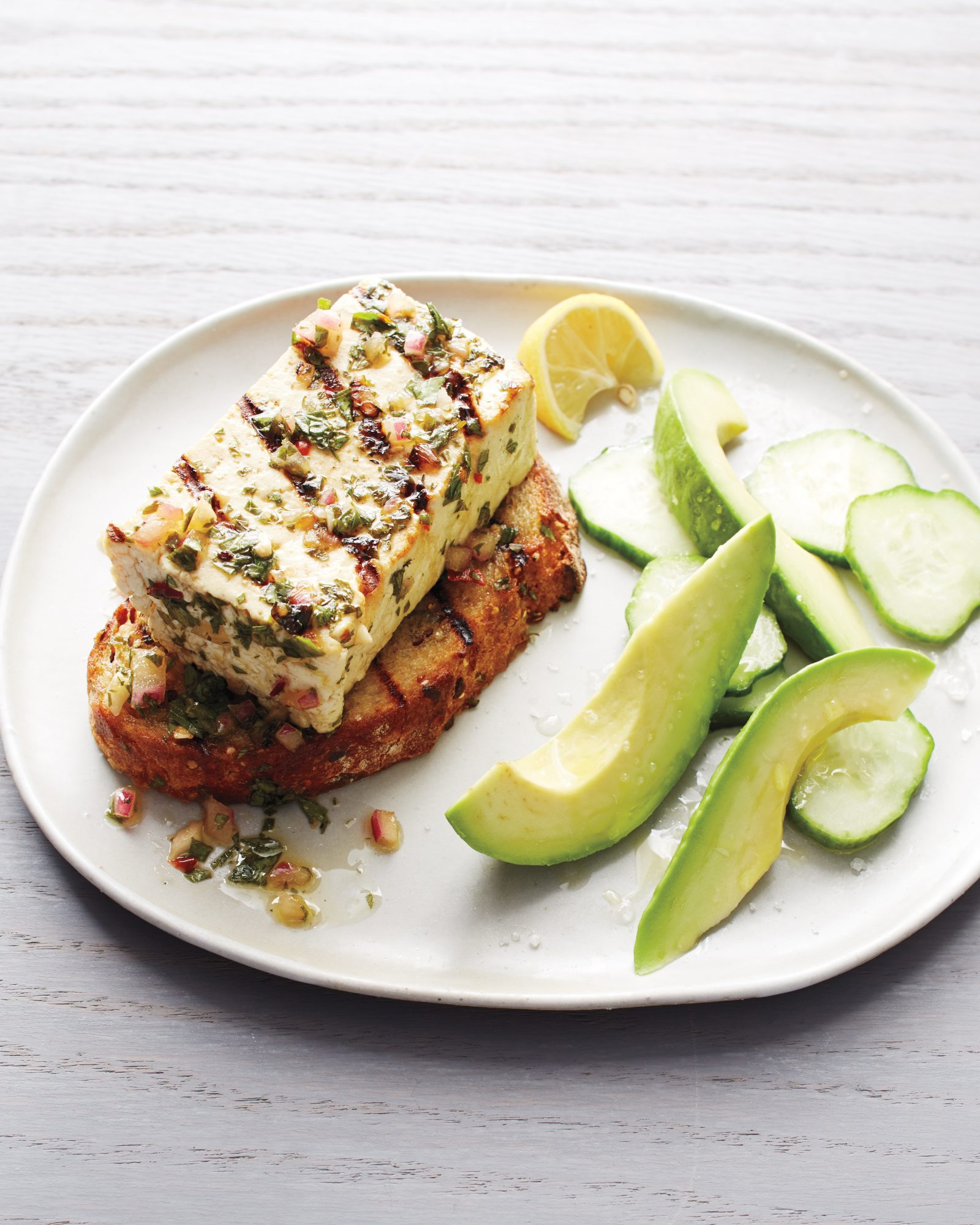 Grilled Tofu with Chimichurri on Grilled Bread