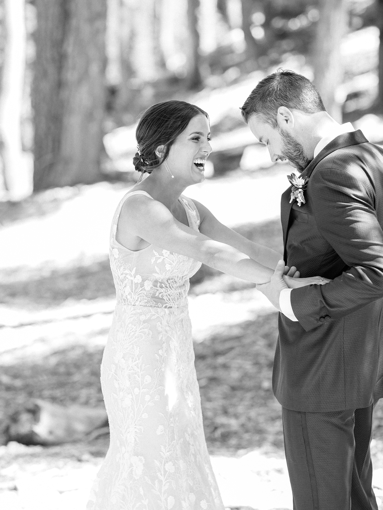 wedding couple smiling during first look