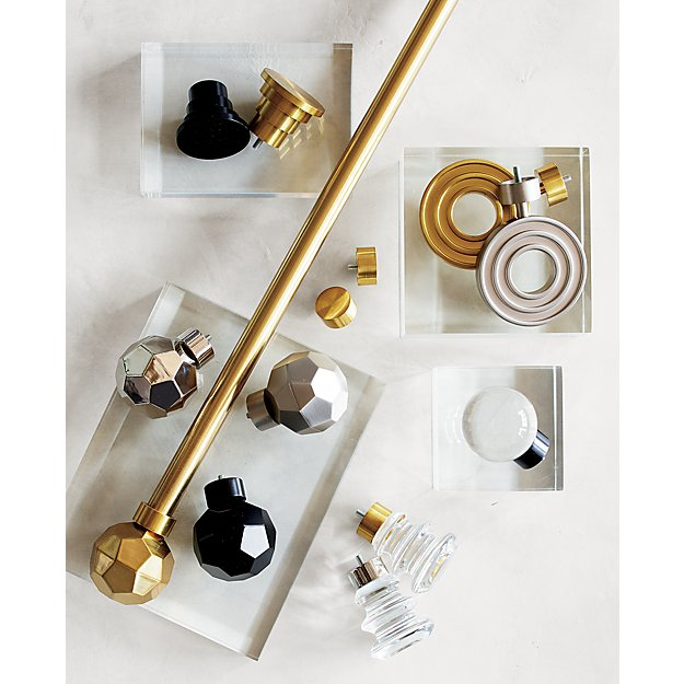 Crate & Barrel CB Brass Faceted Finial and Curtain Rod Set