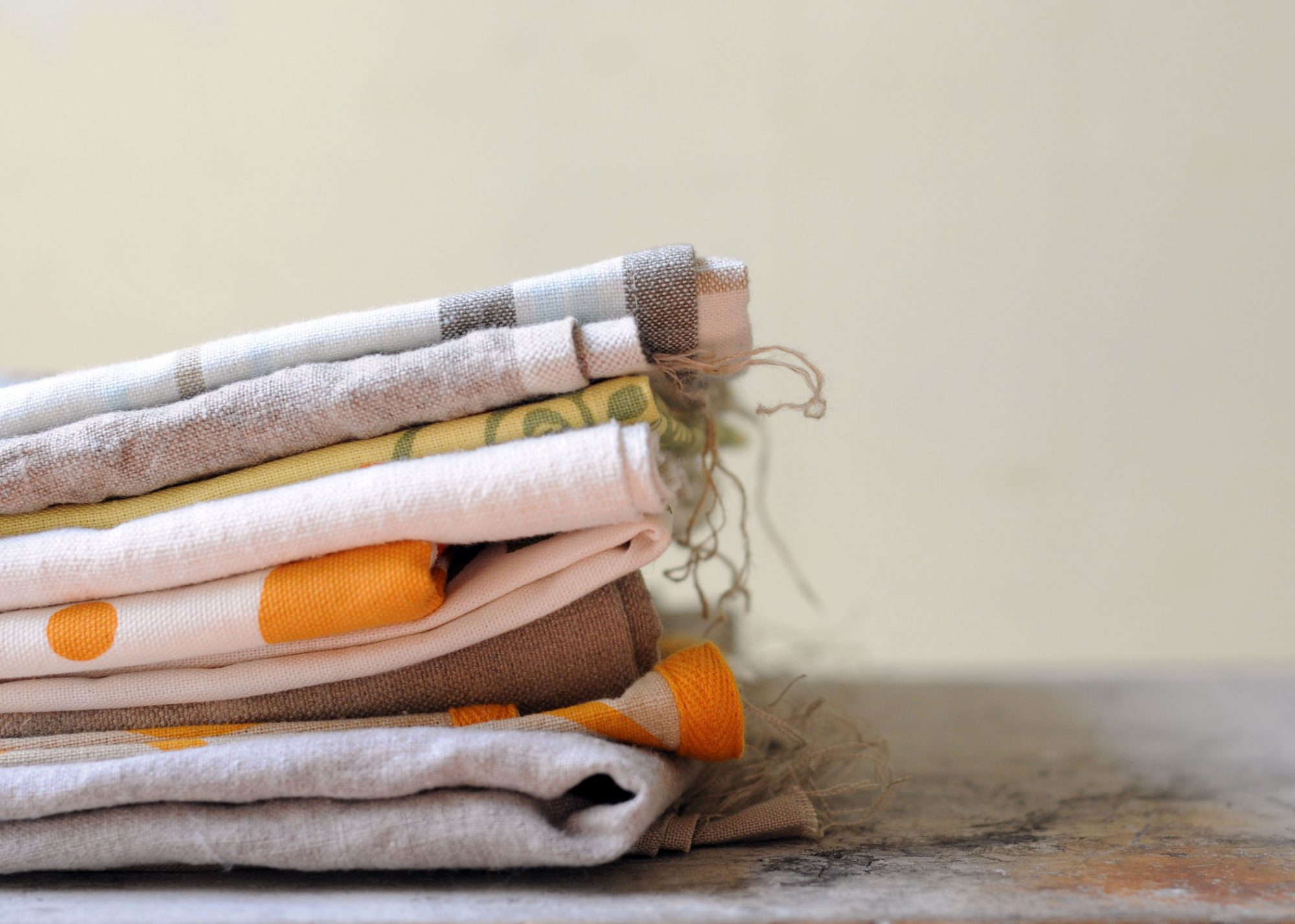 folded tea towels in a stack