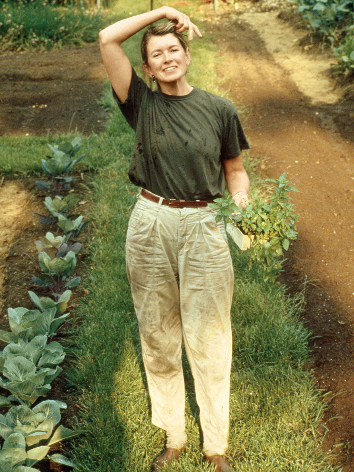 Martha Stewart in her vegetable garden at Turkey Hill