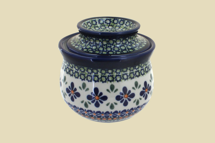 Mosaic Flower French Butter Dish