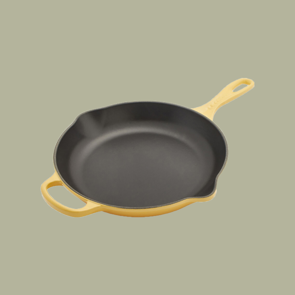 yellow cast iron skillet by Le Creuset