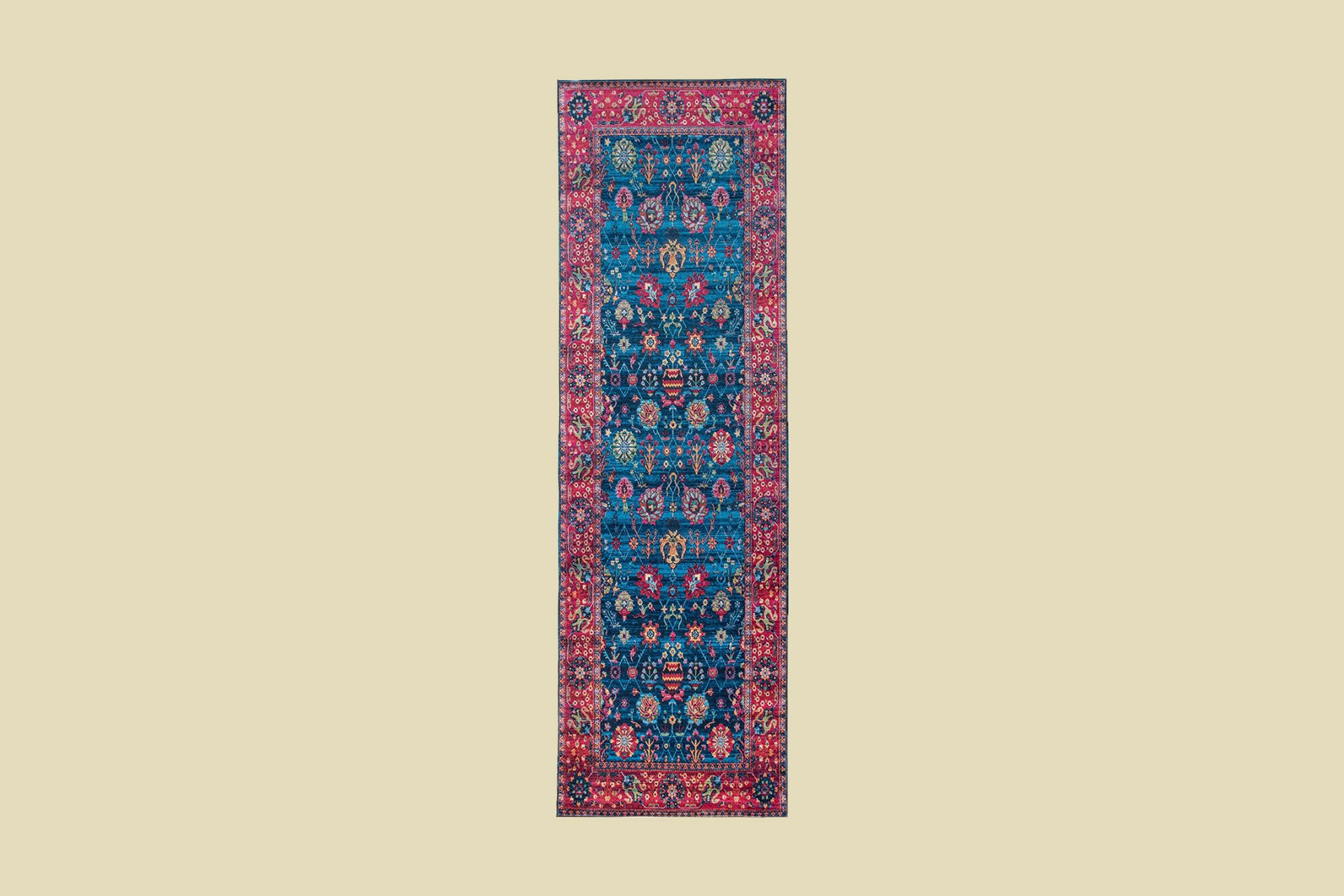 Mylife Rugs Traditional Vintage Non-Slip Machine Washable Printed Rug in Blue Hot Pink