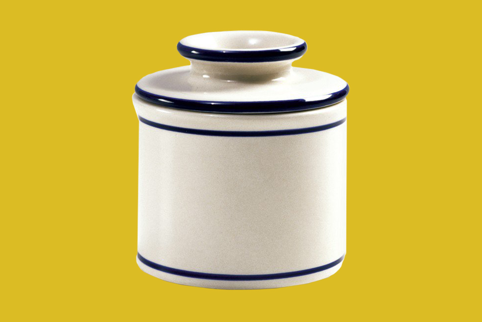 white butter crock with blue edges from Norpro