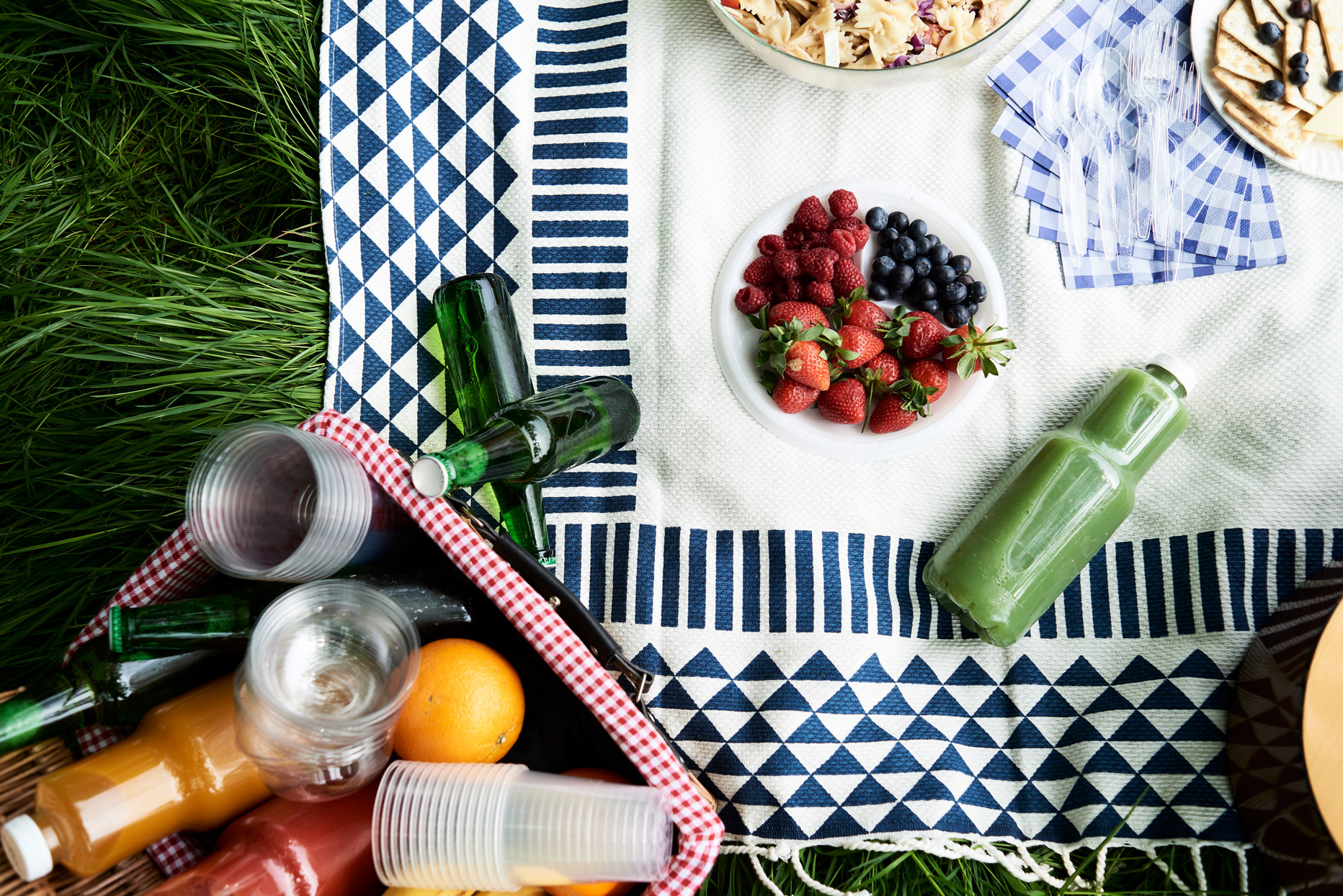 picnic blanket with food and drinks