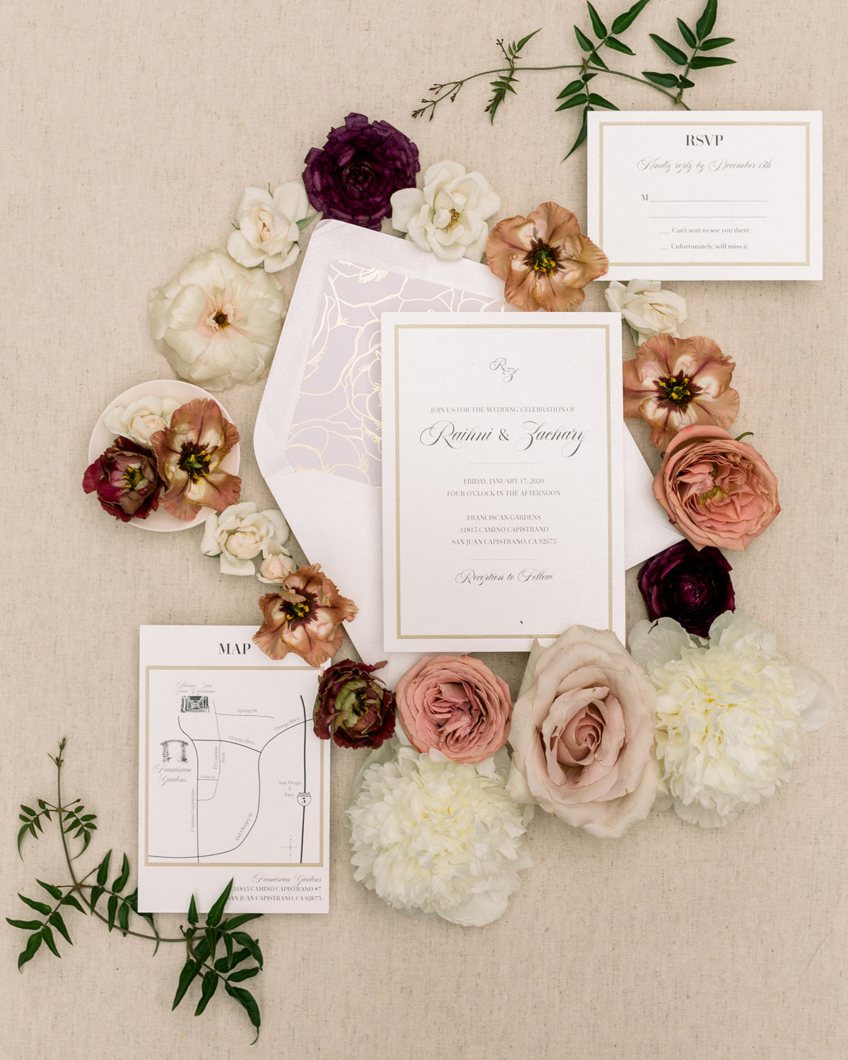 mauve and berry tones elegant wedding invitations