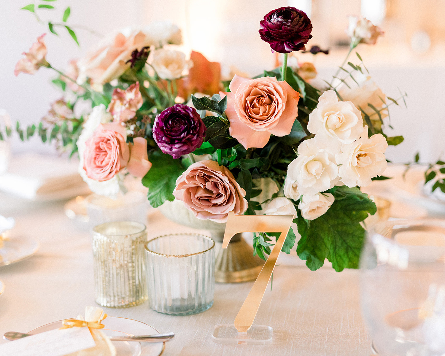 berry tone floral centerpieces with gold accents