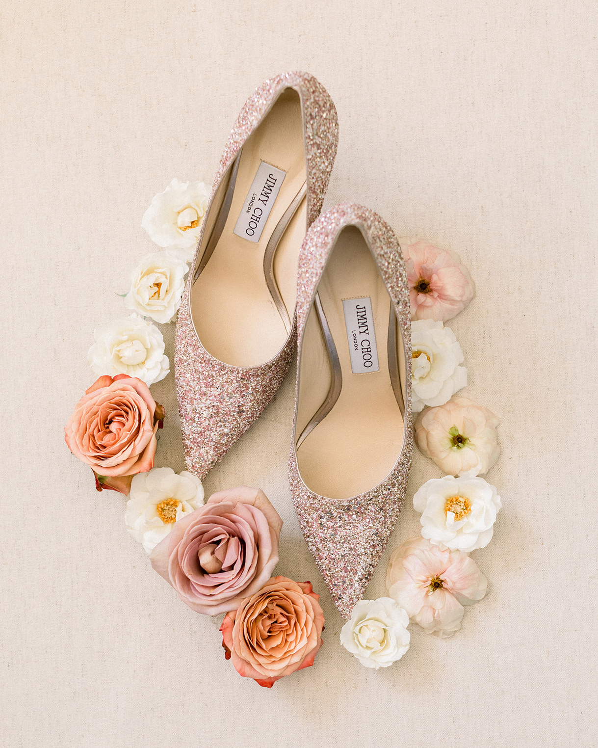 glittering pink bride's wedding shoes