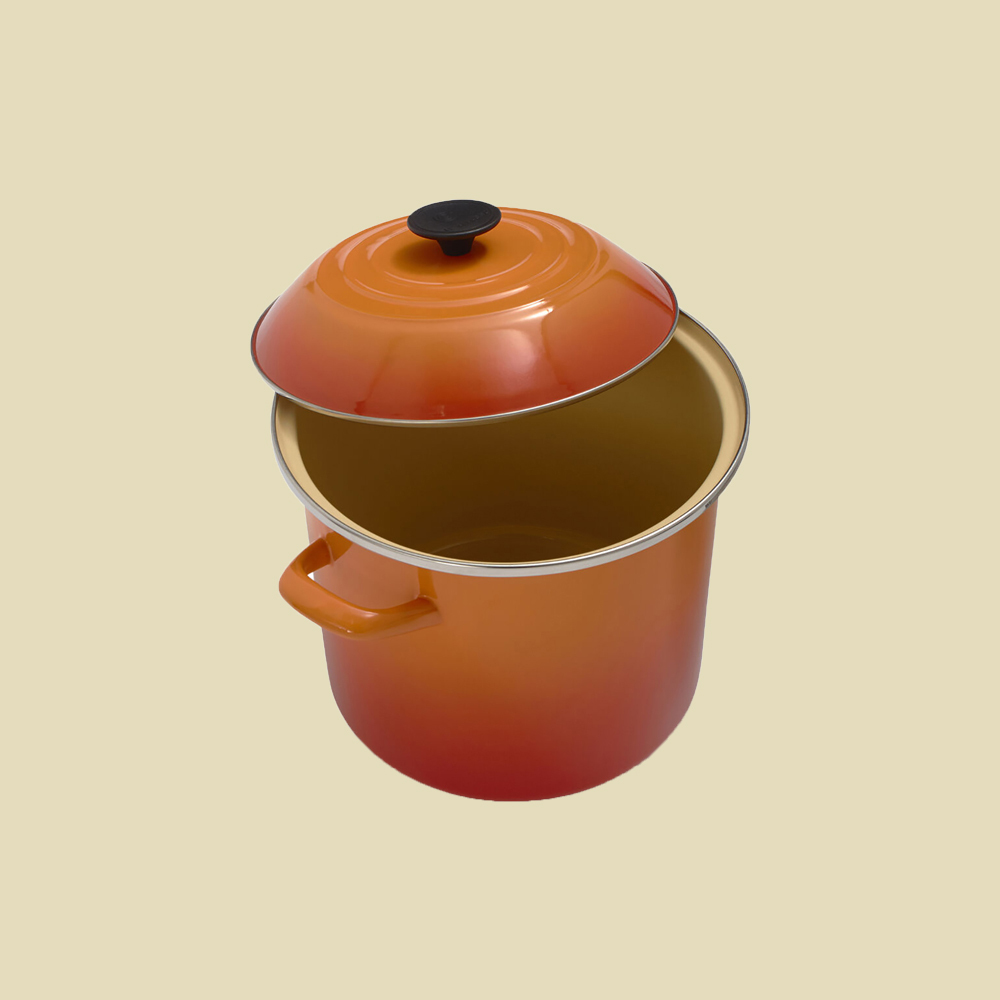 enameled steel stockpot by Le Creuset