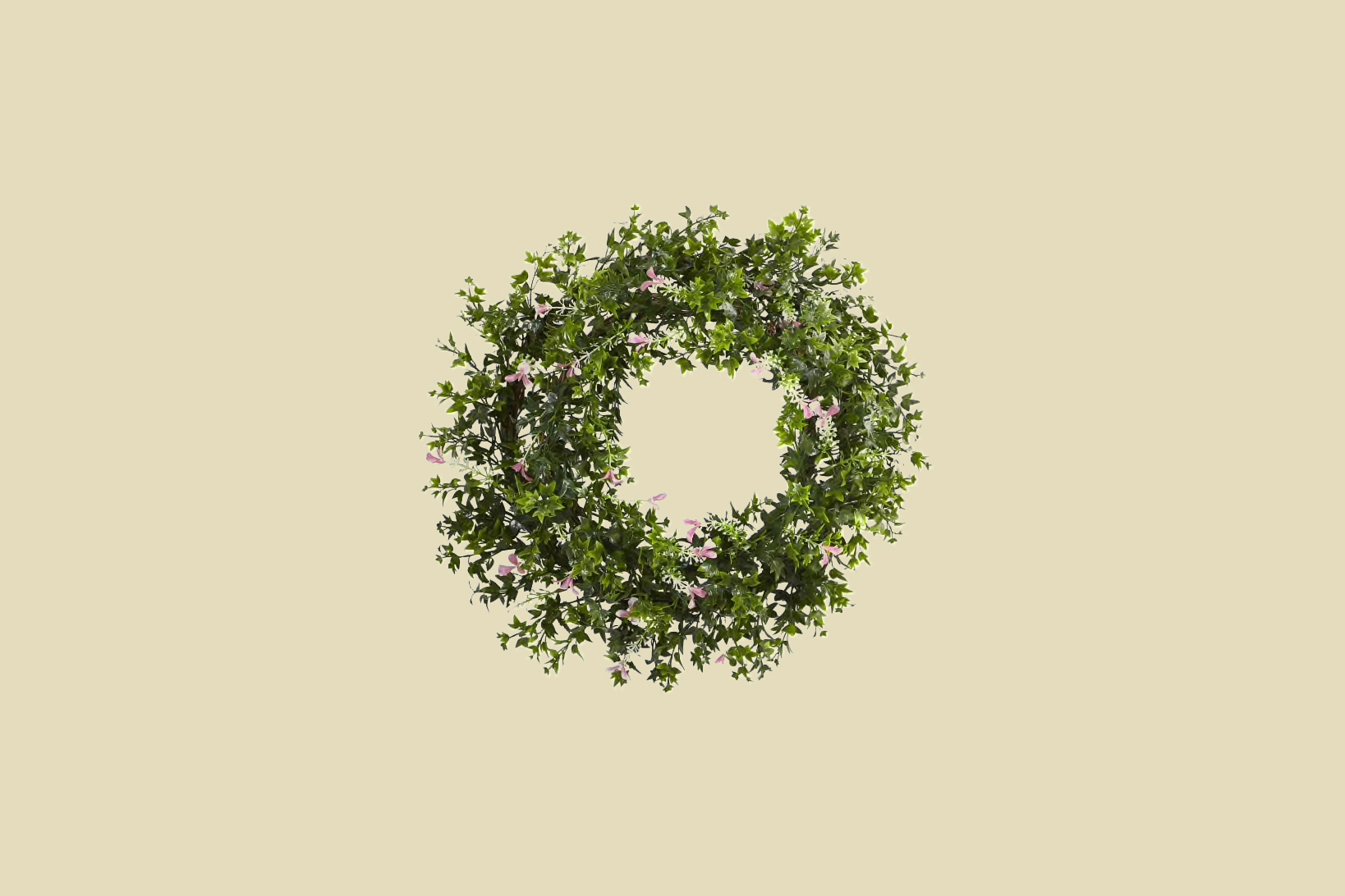Nearly Natural Mini Ivy and Floral Double Ring Wreath with Twig Base