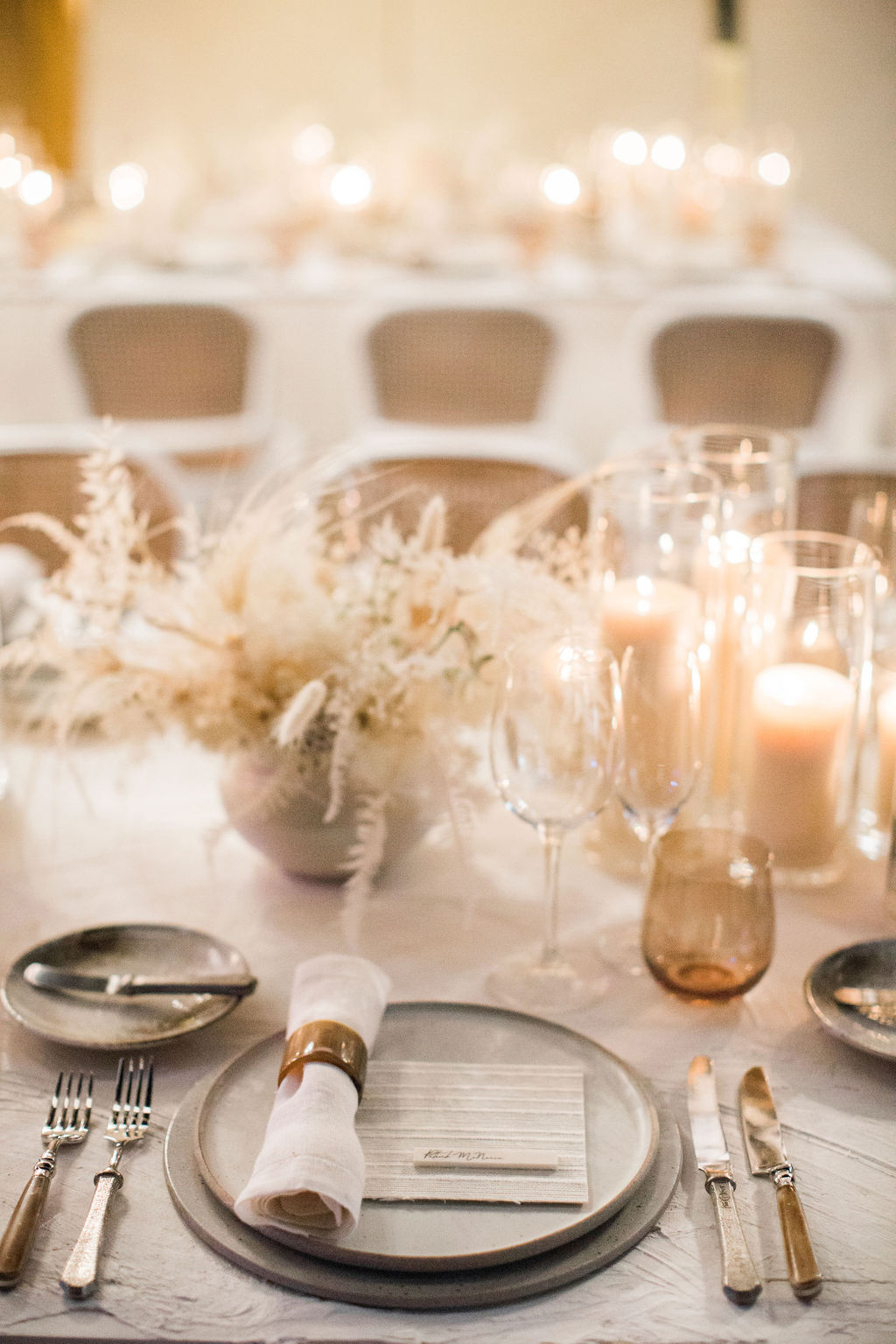 white and gray place setting reception