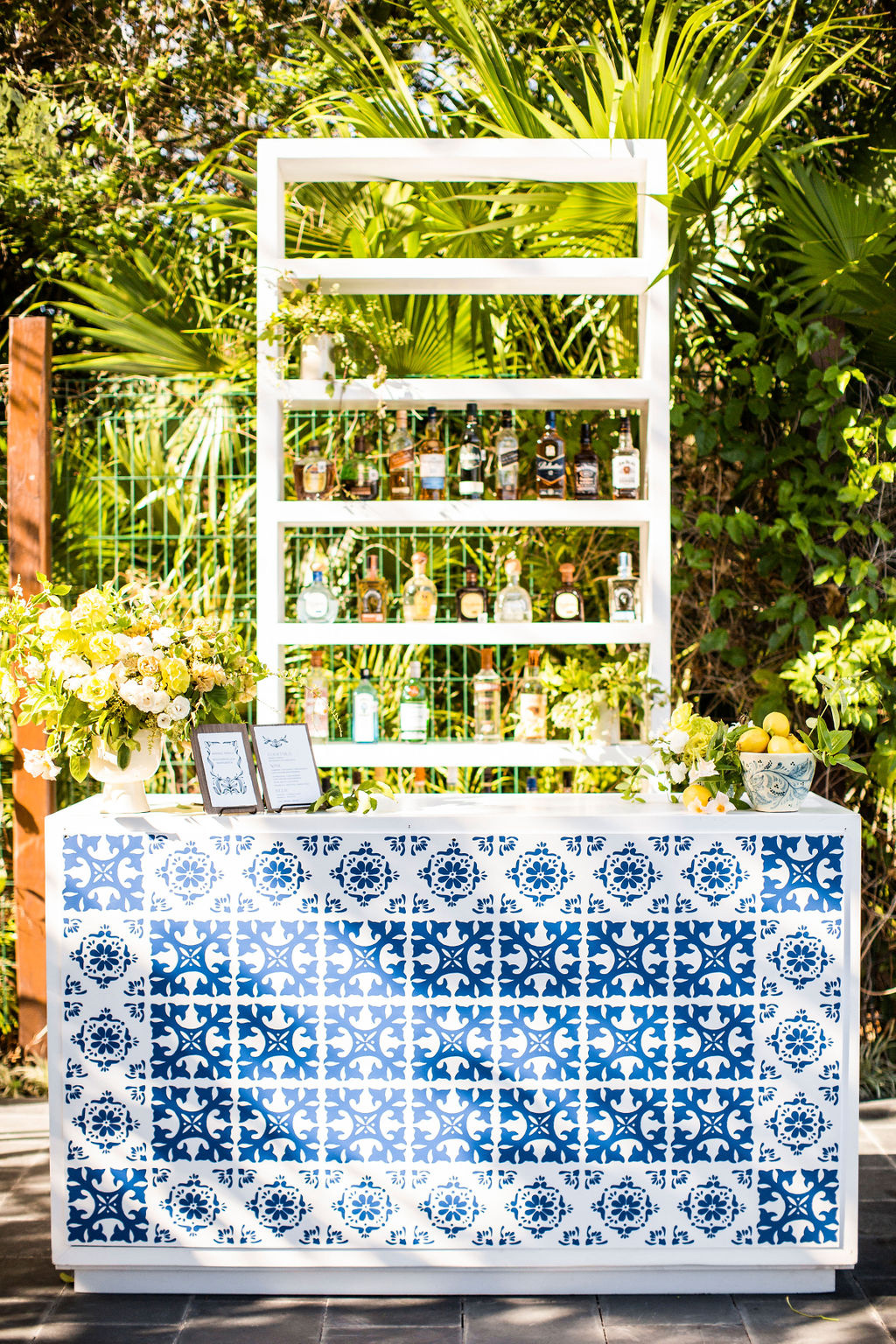 blue and white printed wedding bar area