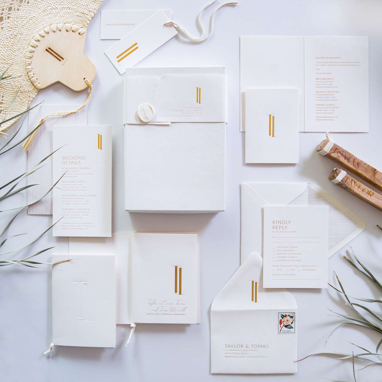 minimal white stationery suite invitations with minor gold accents