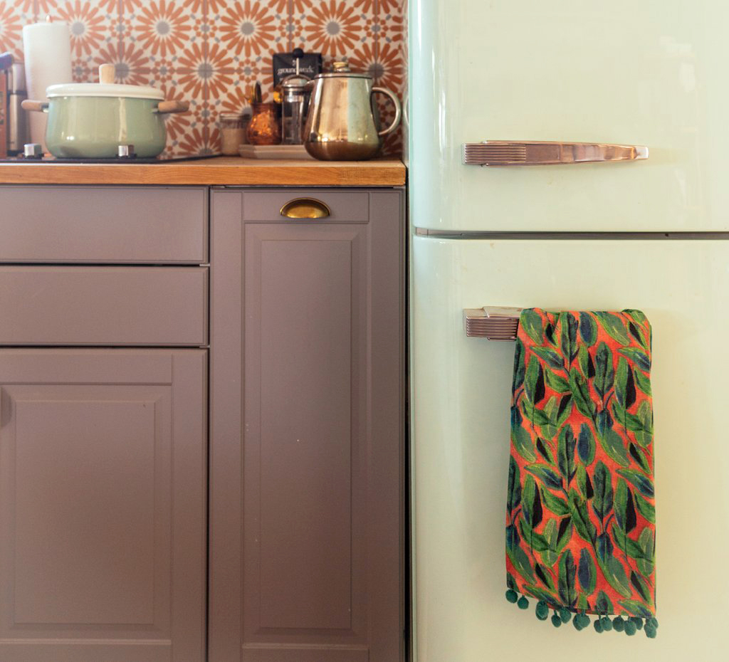 justina blakeney botanicals on blush kitchen towel