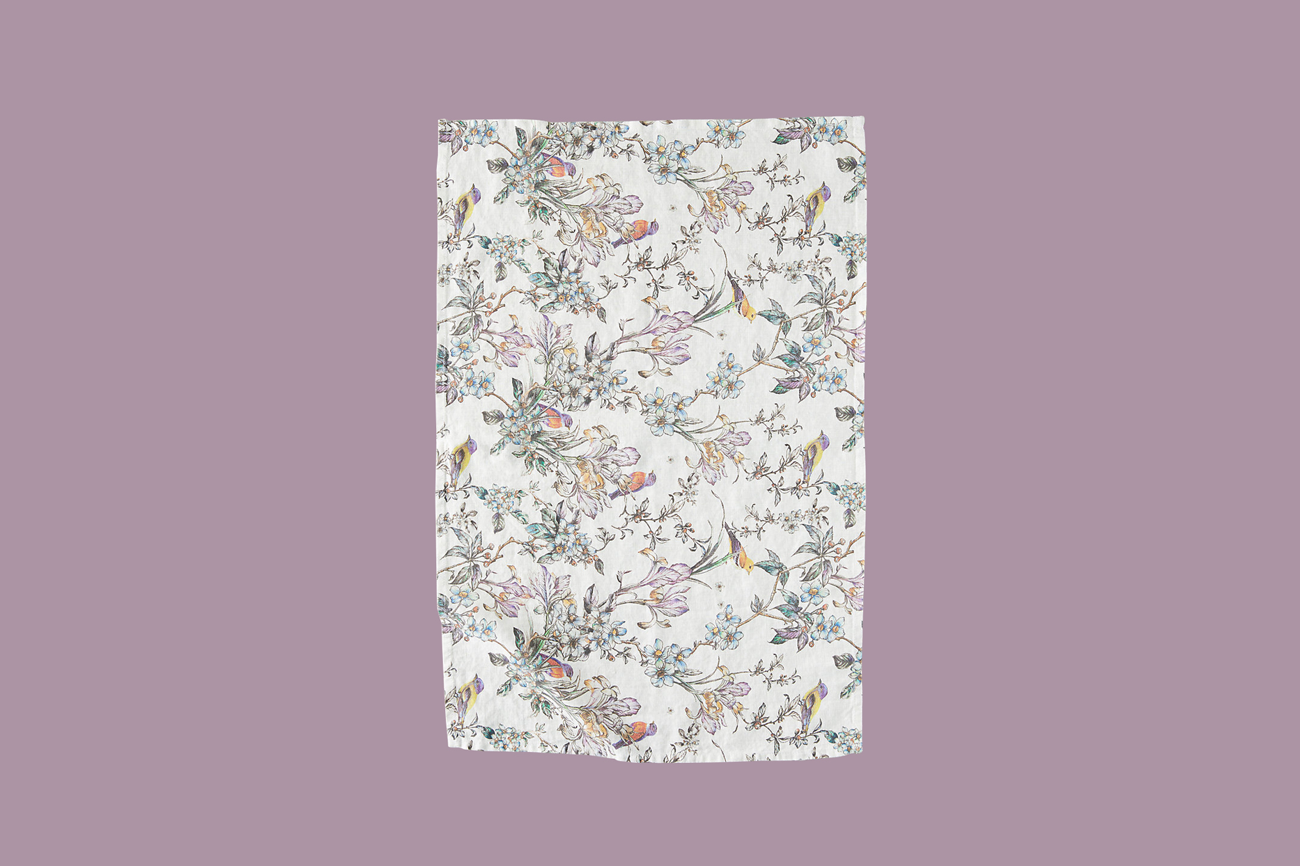 terrain botanical bird linen tea towel
