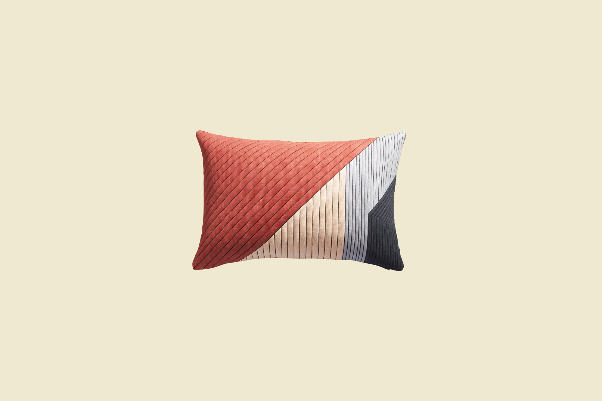warm and cool hues textured color block pillow