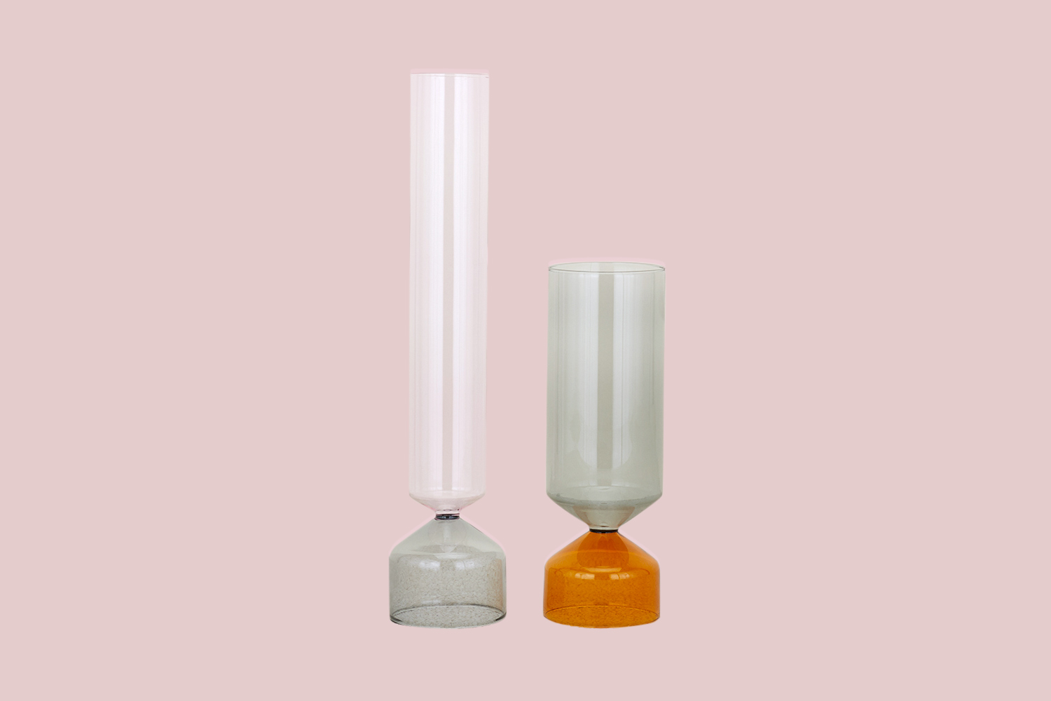 two assorted fluted vases