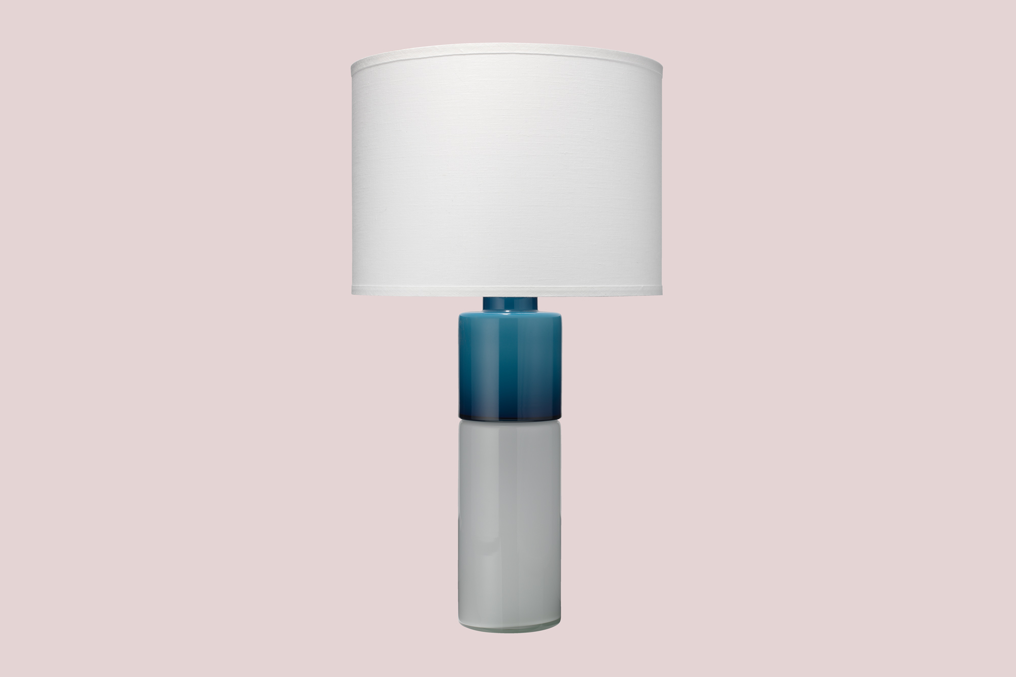 two-toned table lamp teal and white