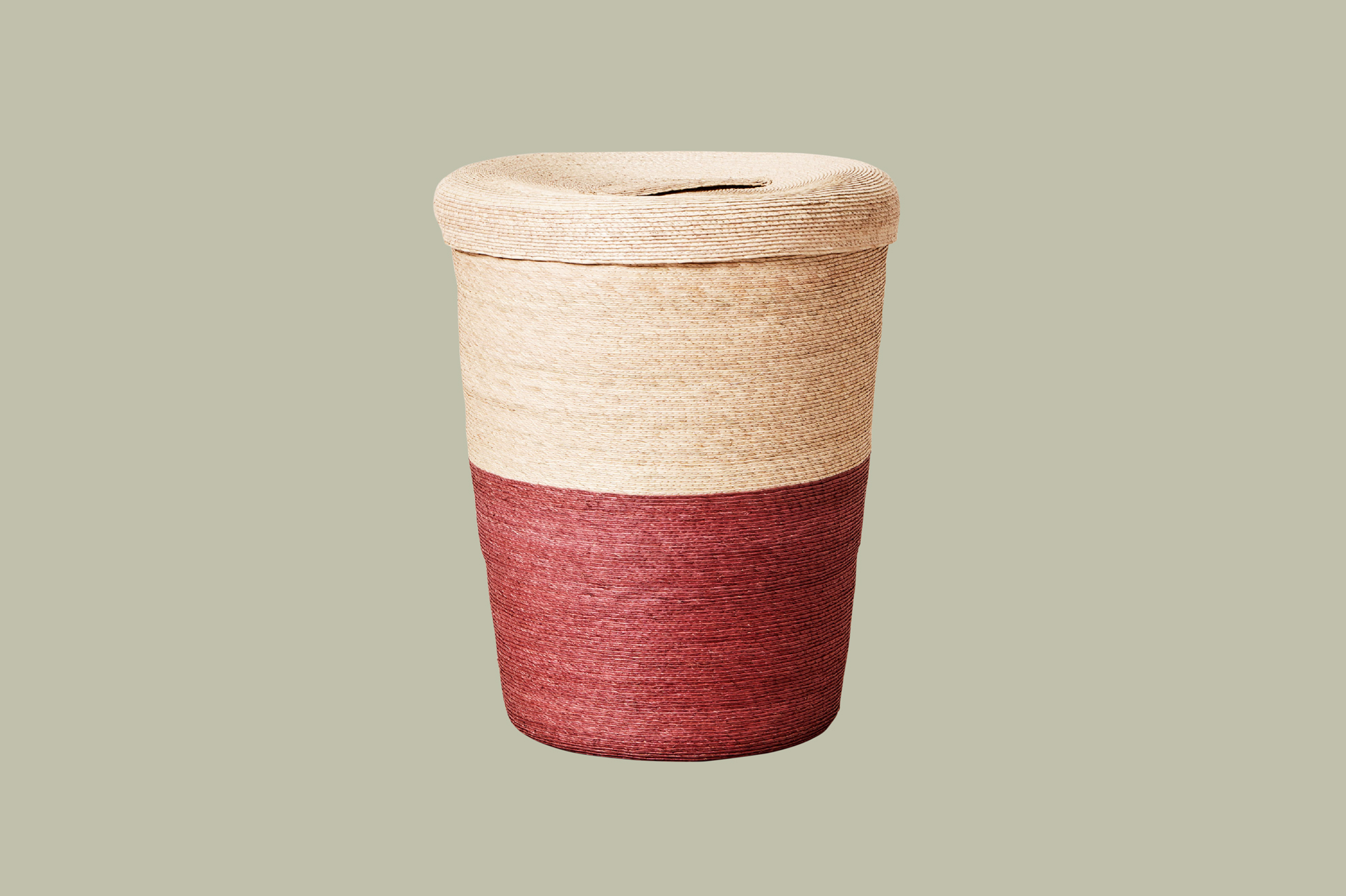 two-toned color block hamper neutral and burgundy