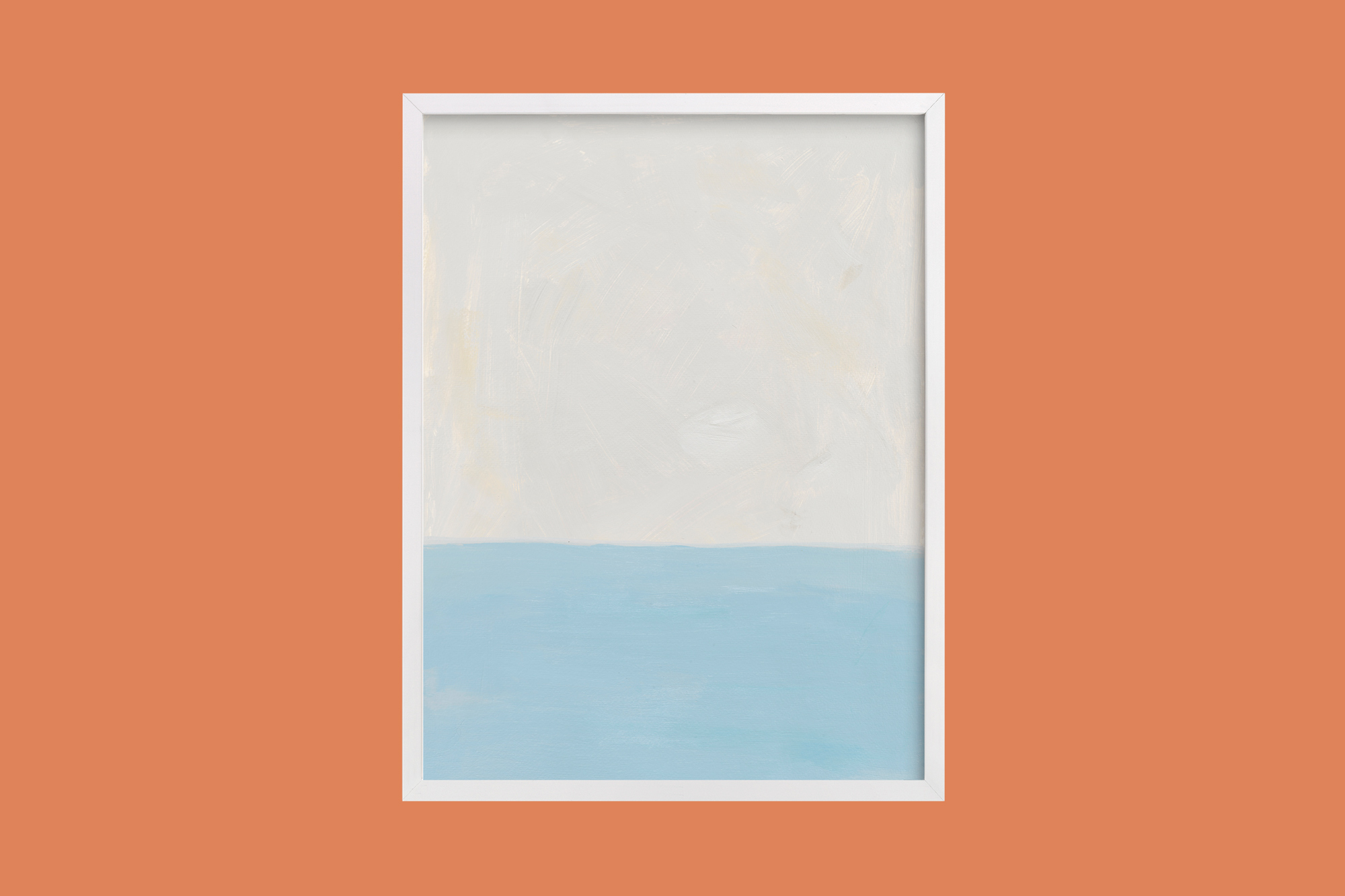 two-toned color block sea frame print blue and white