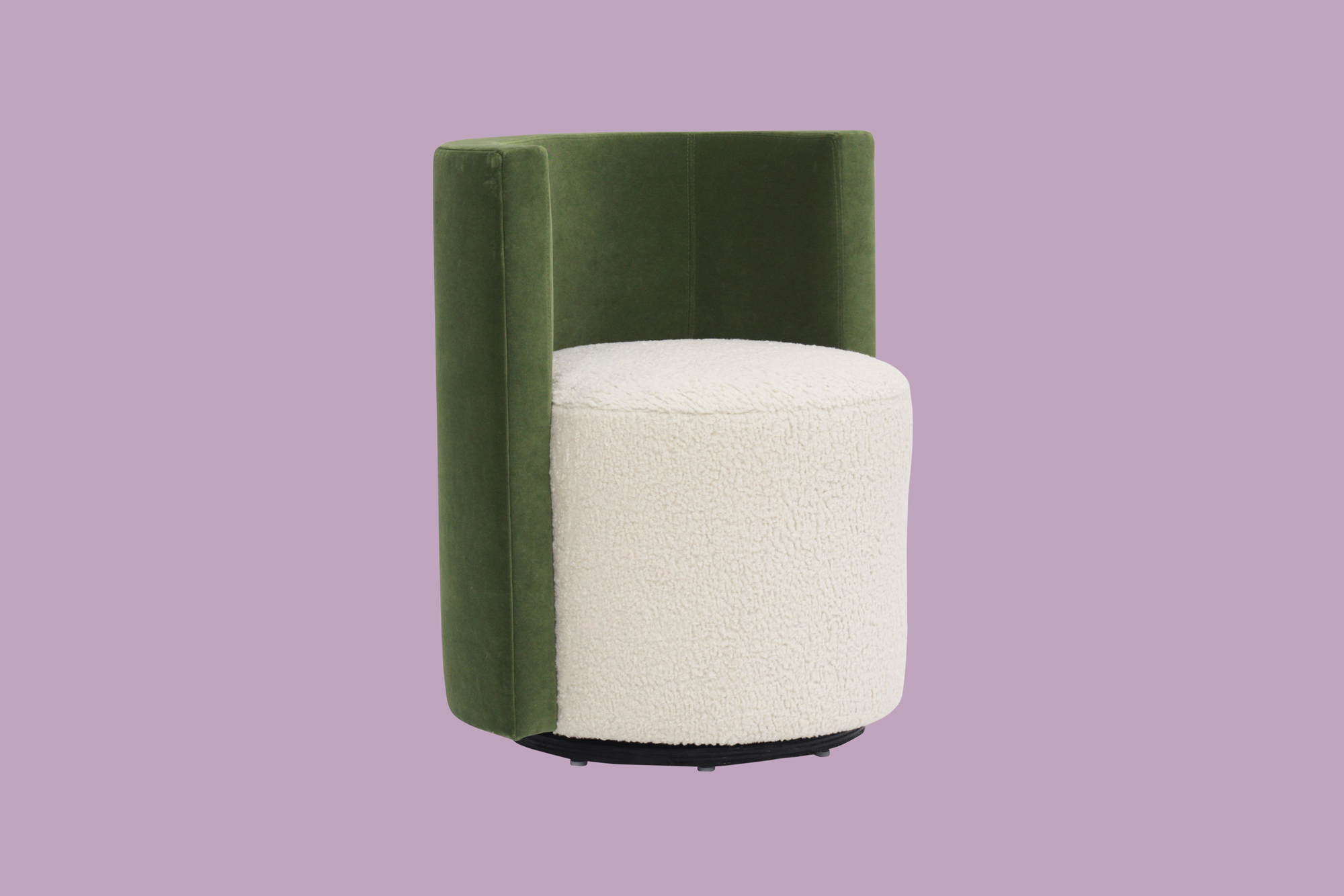 cylinder-shaped modern chair emerald and cream