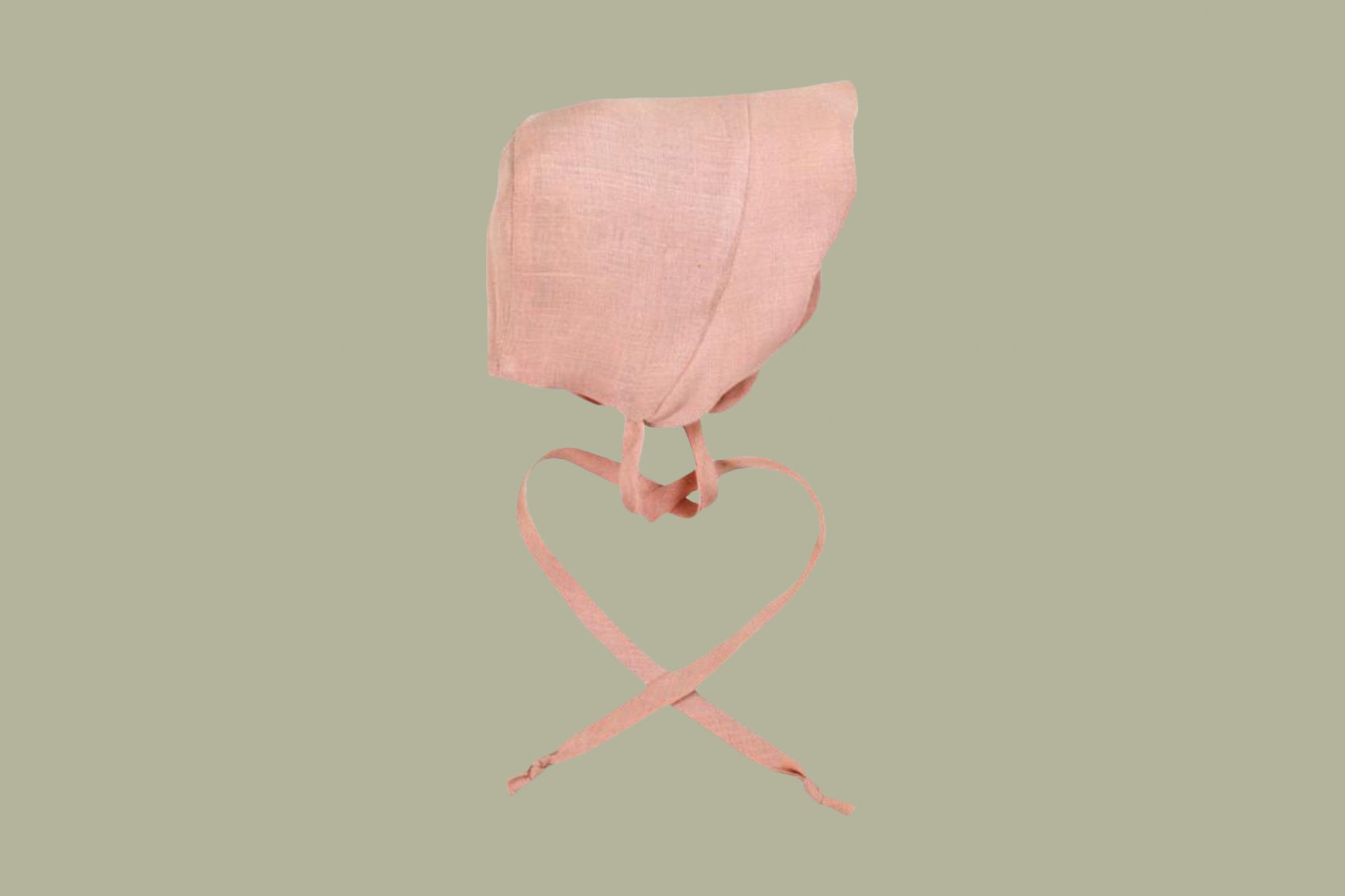 Little Goodall Linen Scallop Bonnet in Shell Pink