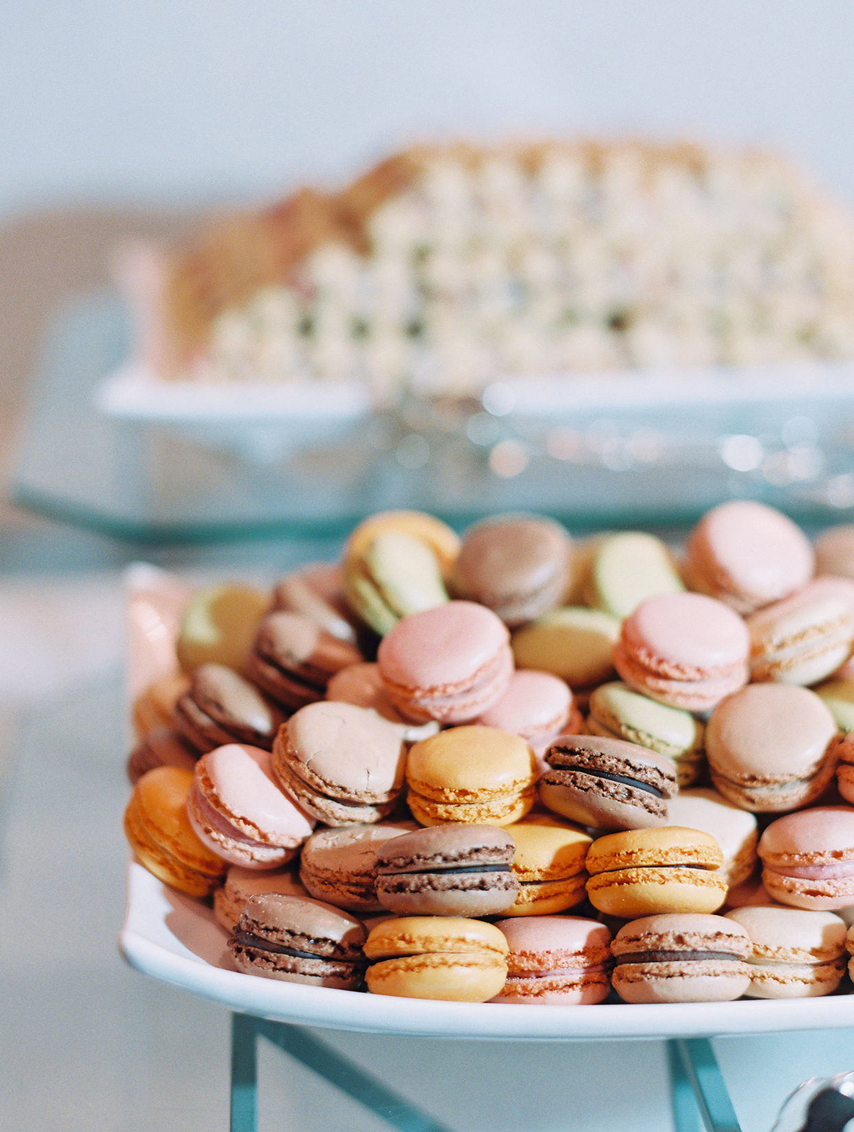 various colored macarons on serving tray