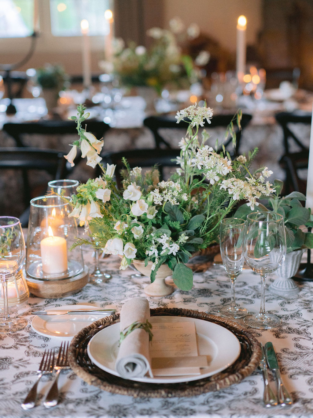 neutral tones elegant rehearsal dinner place setting